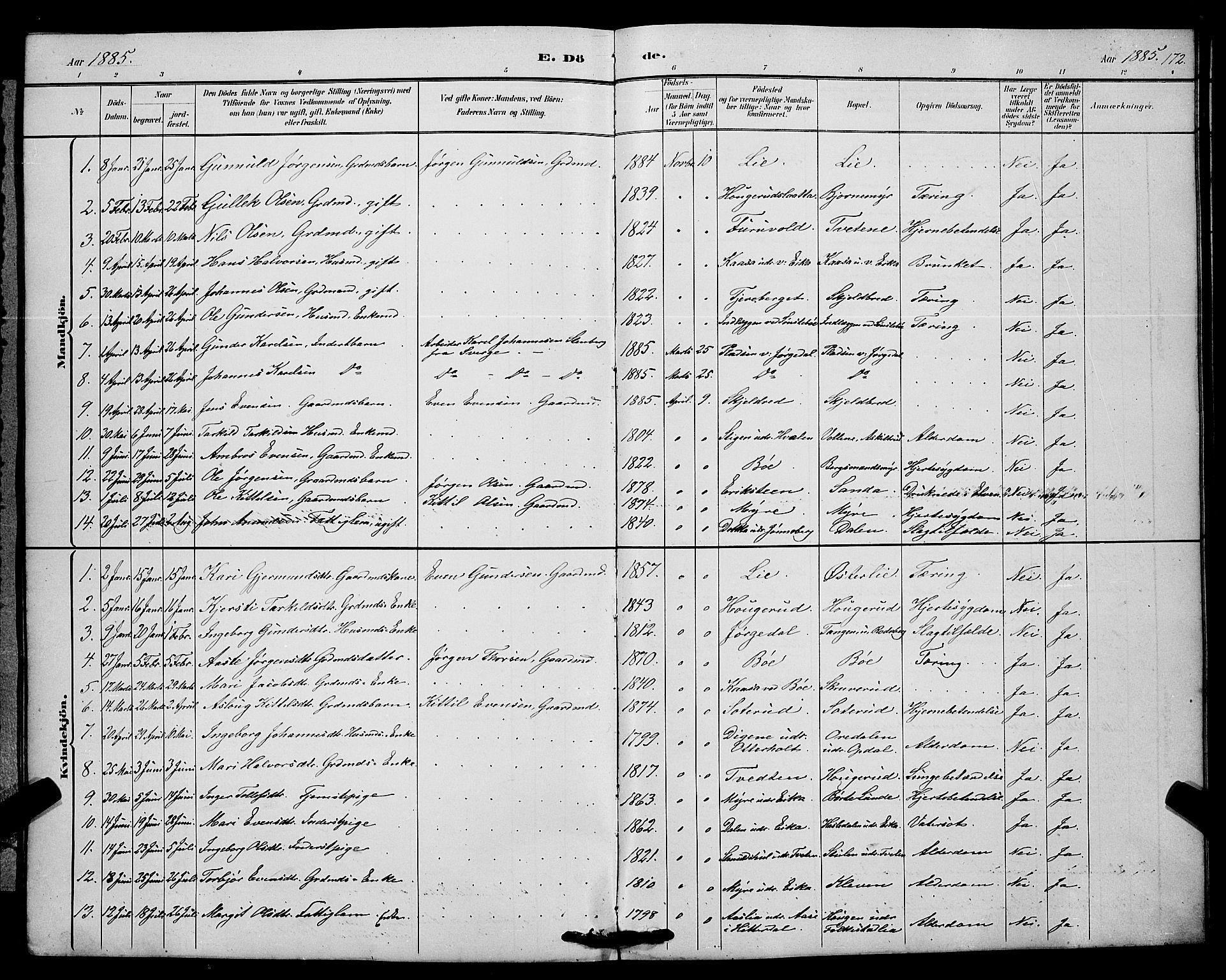 SAKO, Bø kirkebøker, G/Ga/L0005: Klokkerbok nr. 5, 1883-1897, s. 172