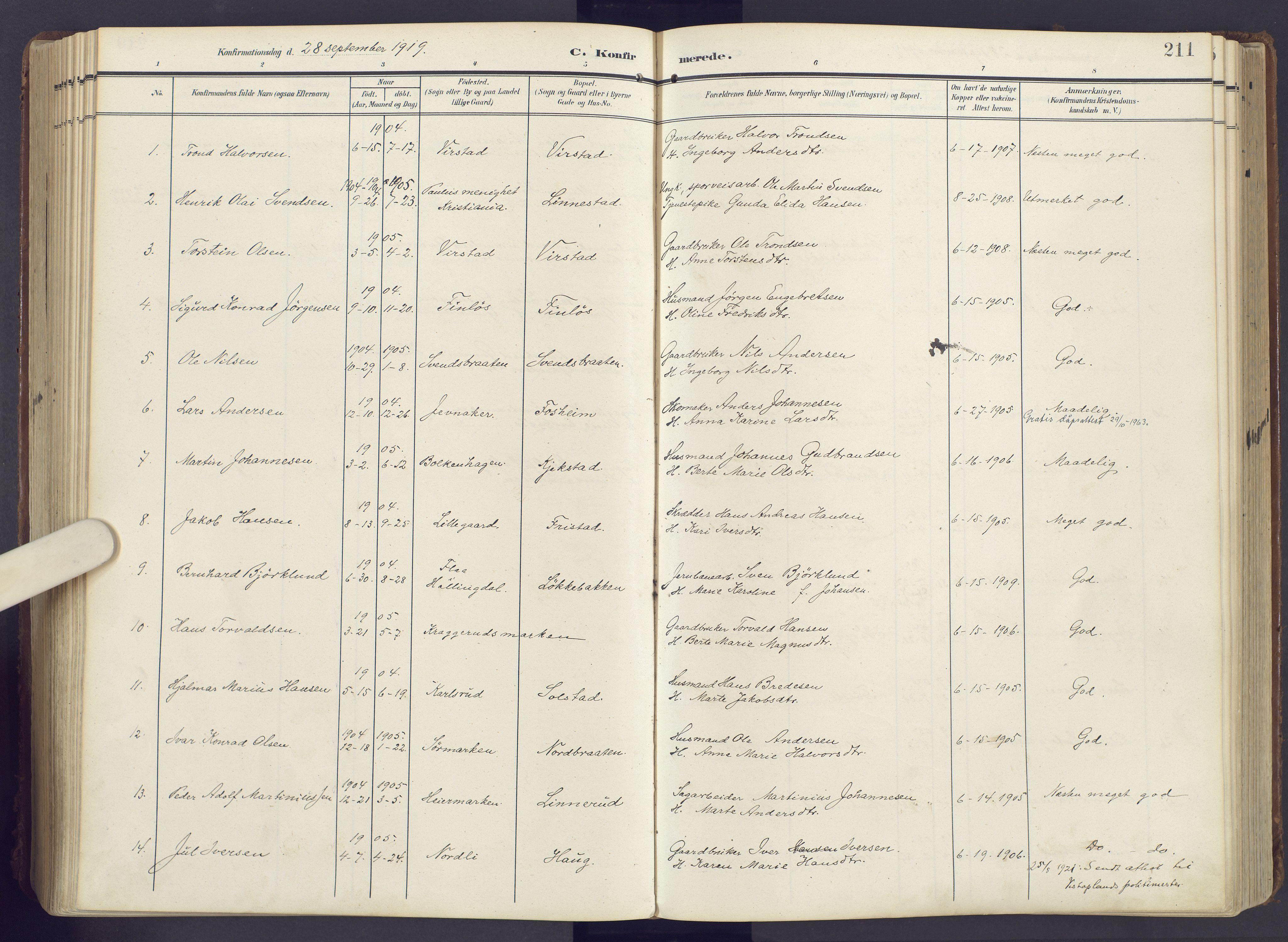 SAH, Lunner prestekontor, H/Ha/Haa/L0001: Ministerialbok nr. 1, 1907-1922, s. 211