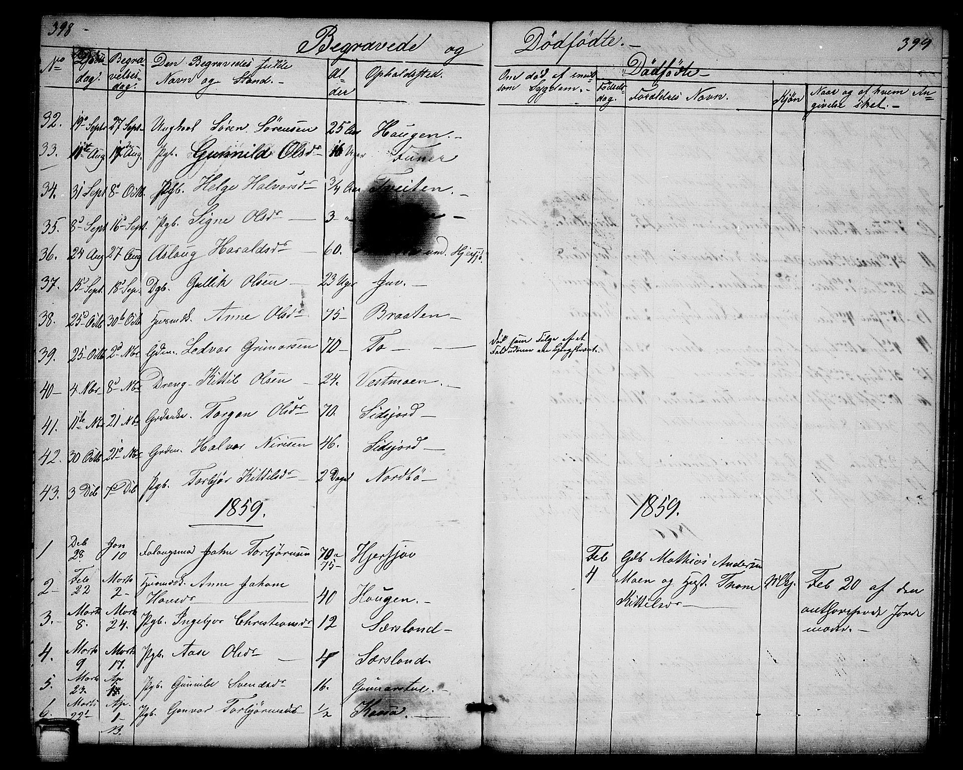 SAKO, Hjartdal kirkebøker, G/Ga/L0002: Klokkerbok nr. I 2, 1854-1888, s. 398-399