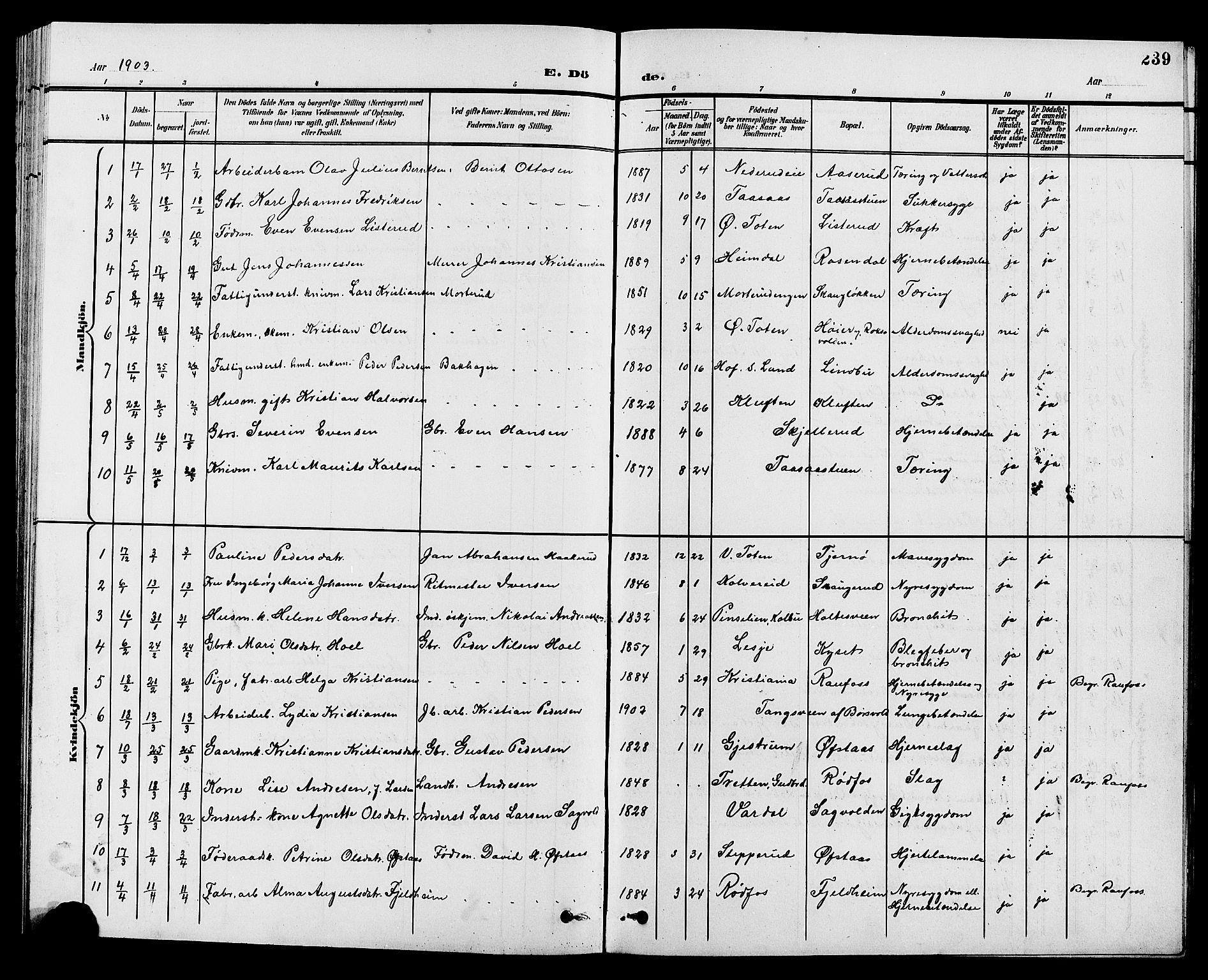 SAH, Vestre Toten prestekontor, Klokkerbok nr. 10, 1900-1912, s. 239