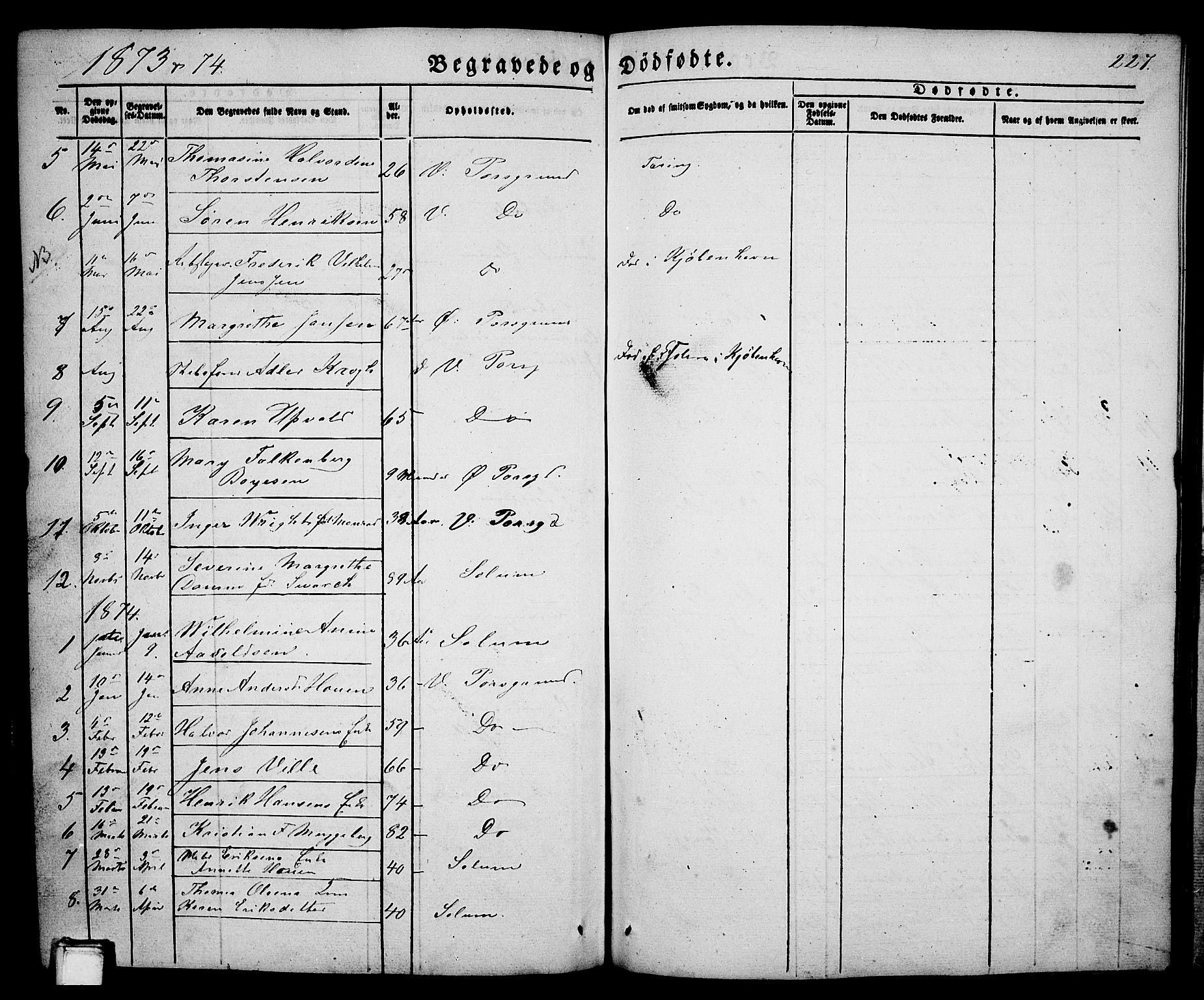 SAKO, Porsgrunn kirkebøker , G/Ga/L0002: Klokkerbok nr. I 2, 1847-1877, s. 227
