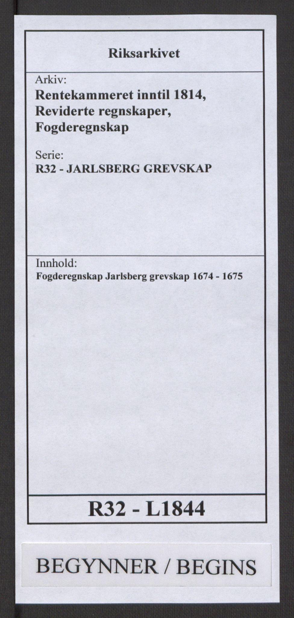 RA, Rentekammeret inntil 1814, Reviderte regnskaper, Fogderegnskap, R32/L1844: Fogderegnskap Jarlsberg grevskap, 1674-1675, s. 1