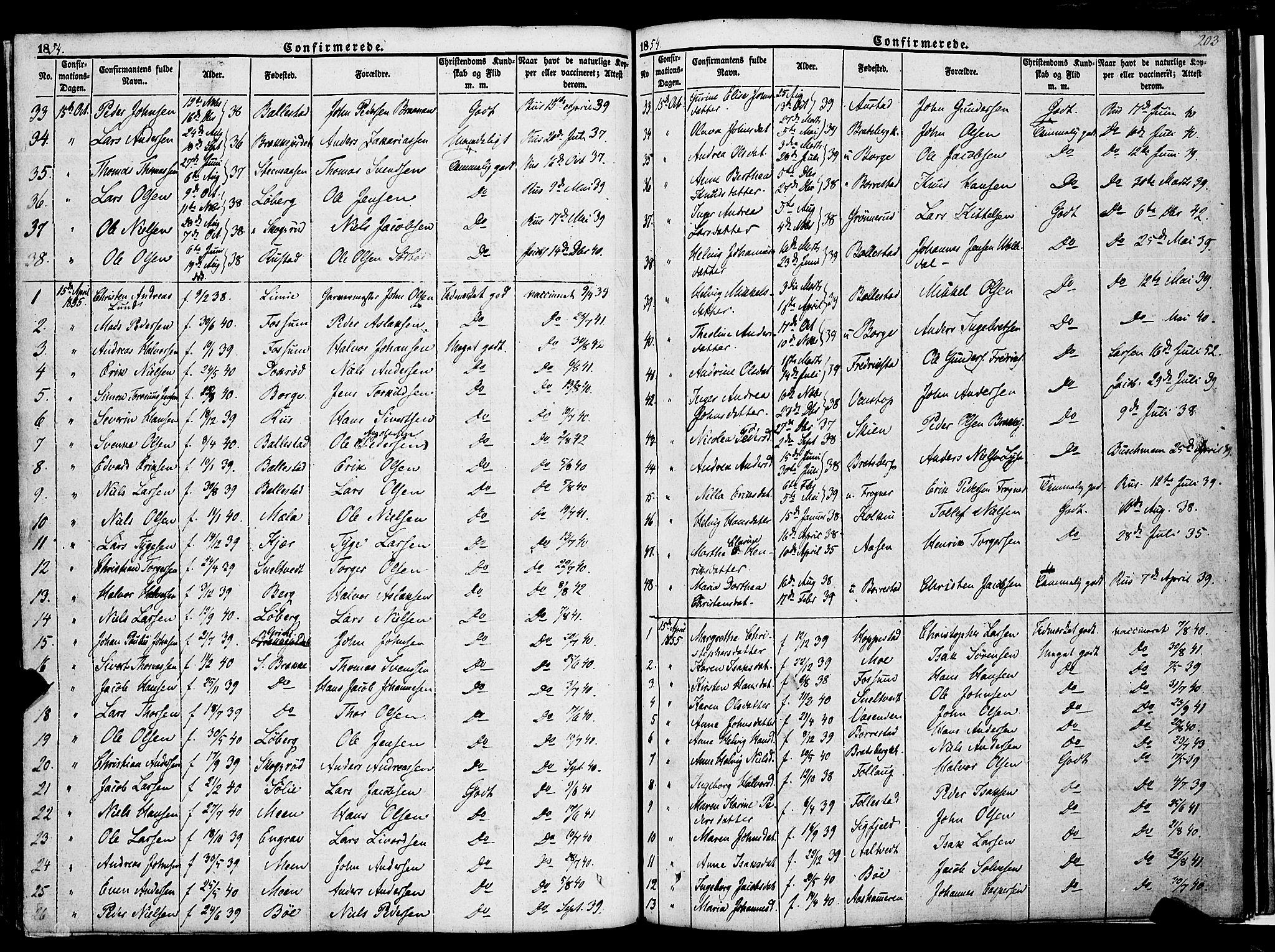 SAKO, Gjerpen kirkebøker, F/Fa/L0007a: Ministerialbok nr. 7A, 1834-1857, s. 203