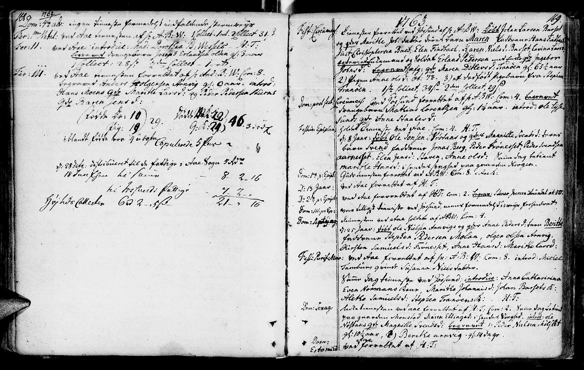 SAT, Ministerialprotokoller, klokkerbøker og fødselsregistre - Sør-Trøndelag, 655/L0672: Ministerialbok nr. 655A01, 1750-1779, s. 168-169
