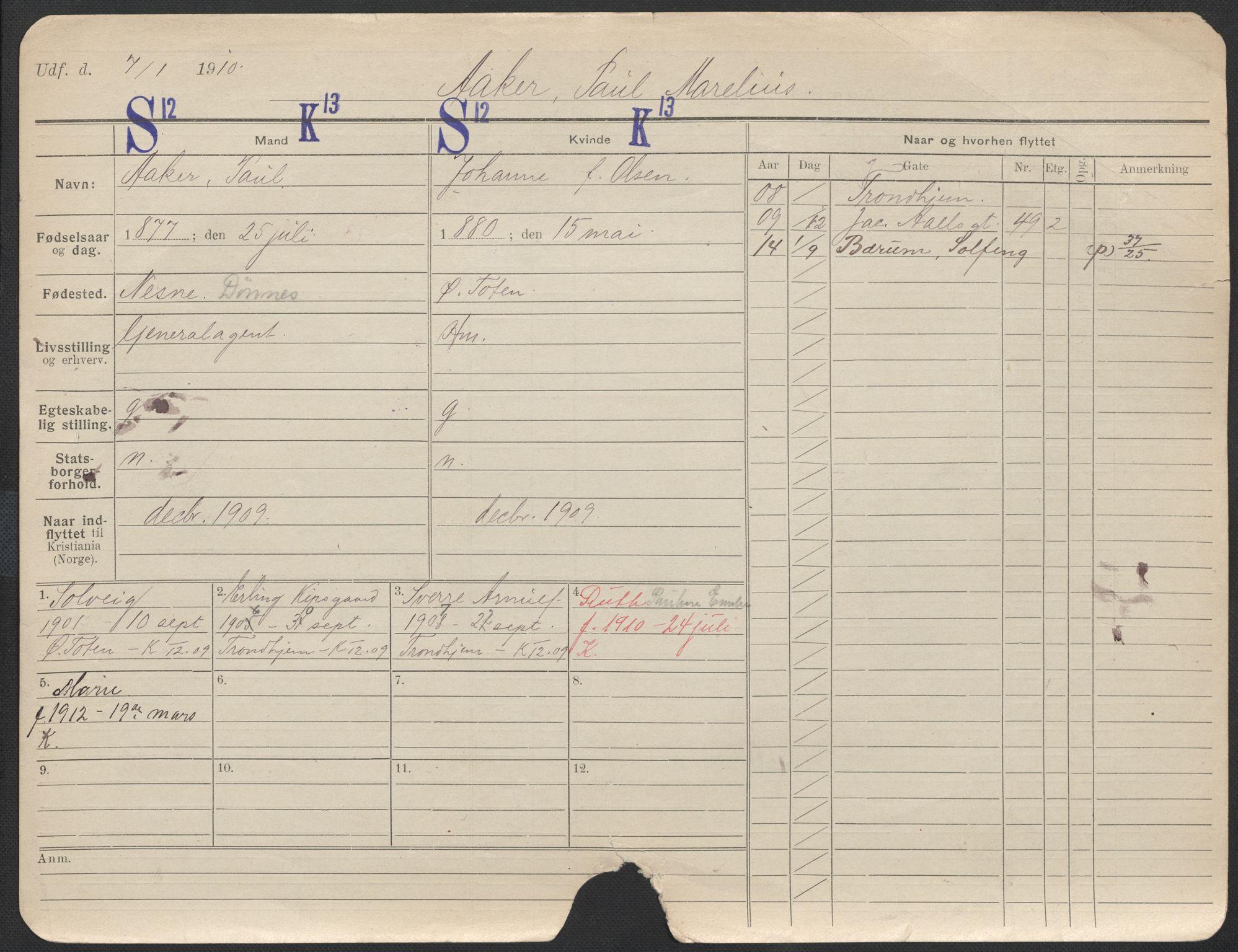 SAO, Oslo folkeregister, Registerkort, F/Fa/Fac/L0011: Menn, 1906-1914, s. 1151a