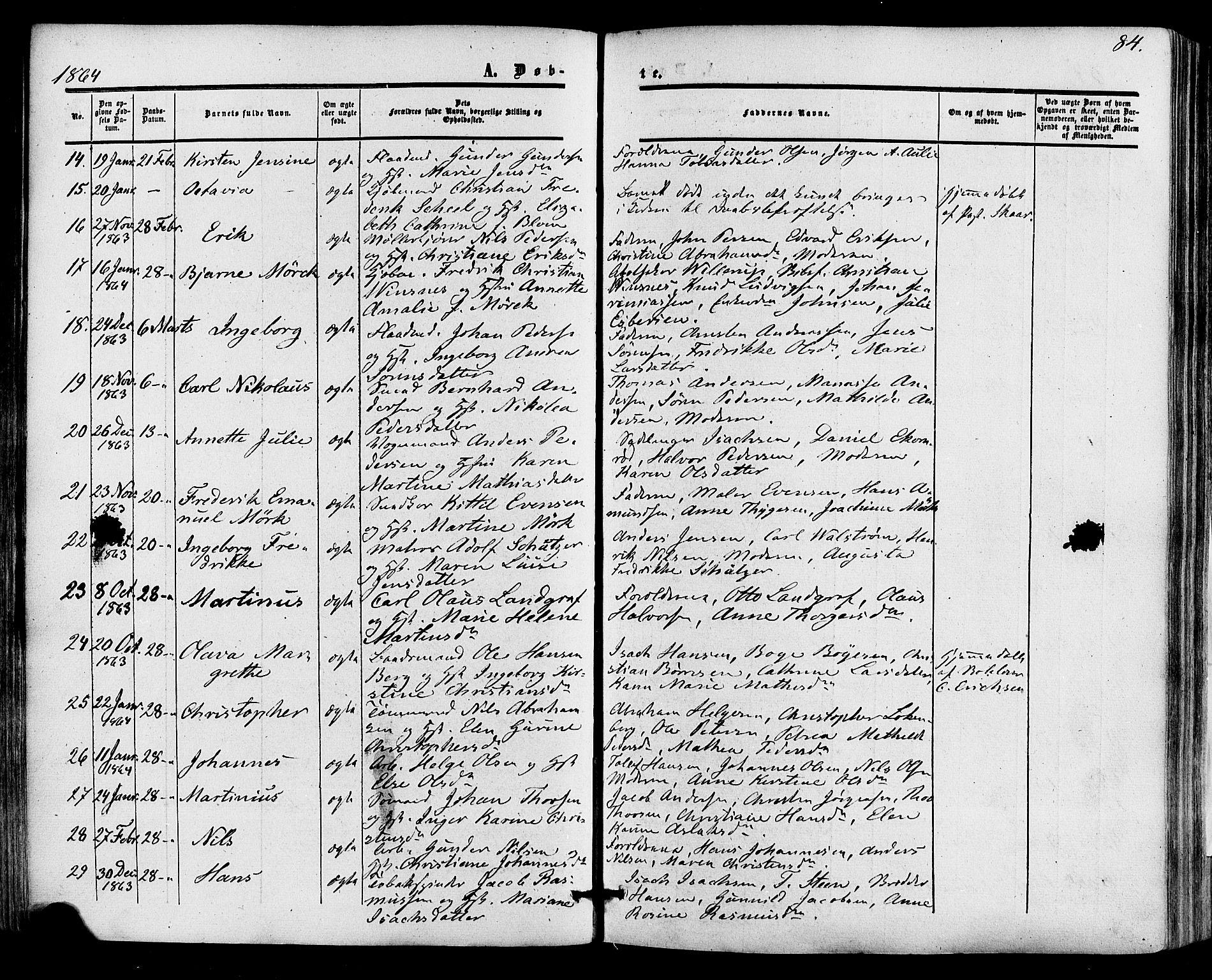 SAKO, Skien kirkebøker, F/Fa/L0007: Ministerialbok nr. 7, 1856-1865, s. 84