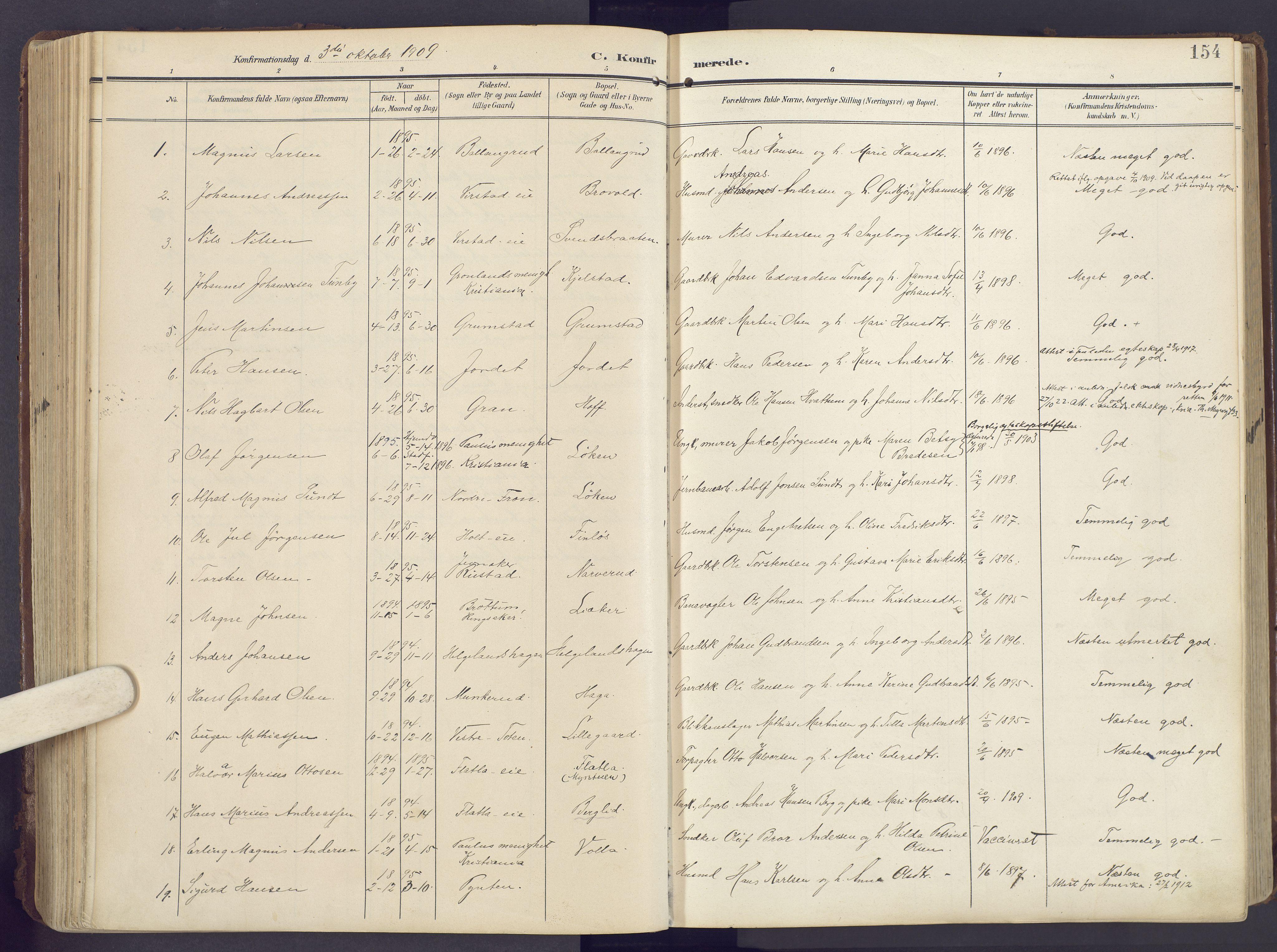 SAH, Lunner prestekontor, H/Ha/Haa/L0001: Ministerialbok nr. 1, 1907-1922, s. 154