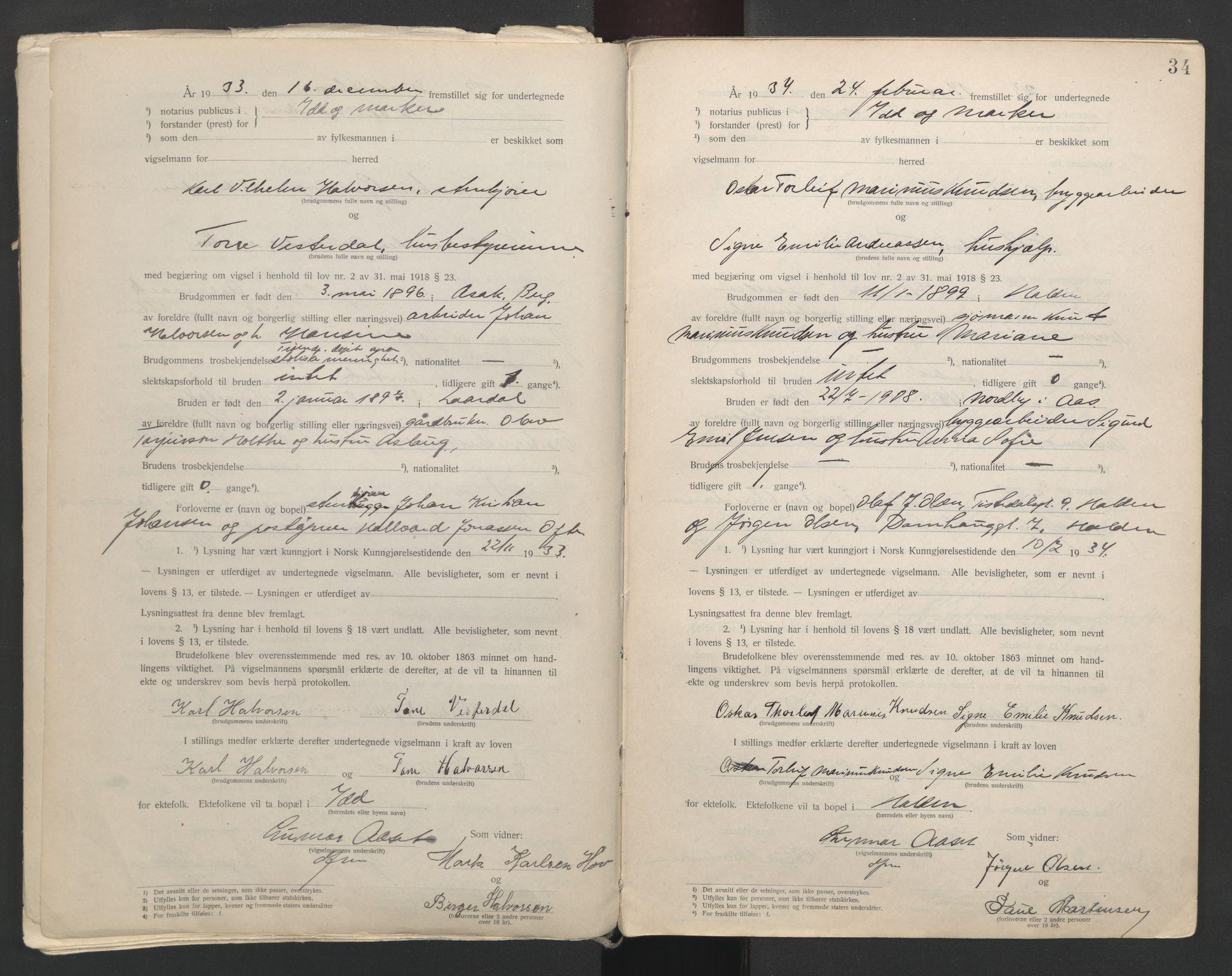 SAO, Idd og Marker sorenskriveri, L/Lc/L0001: Vigselsbøker, 1920-1942, s. 34