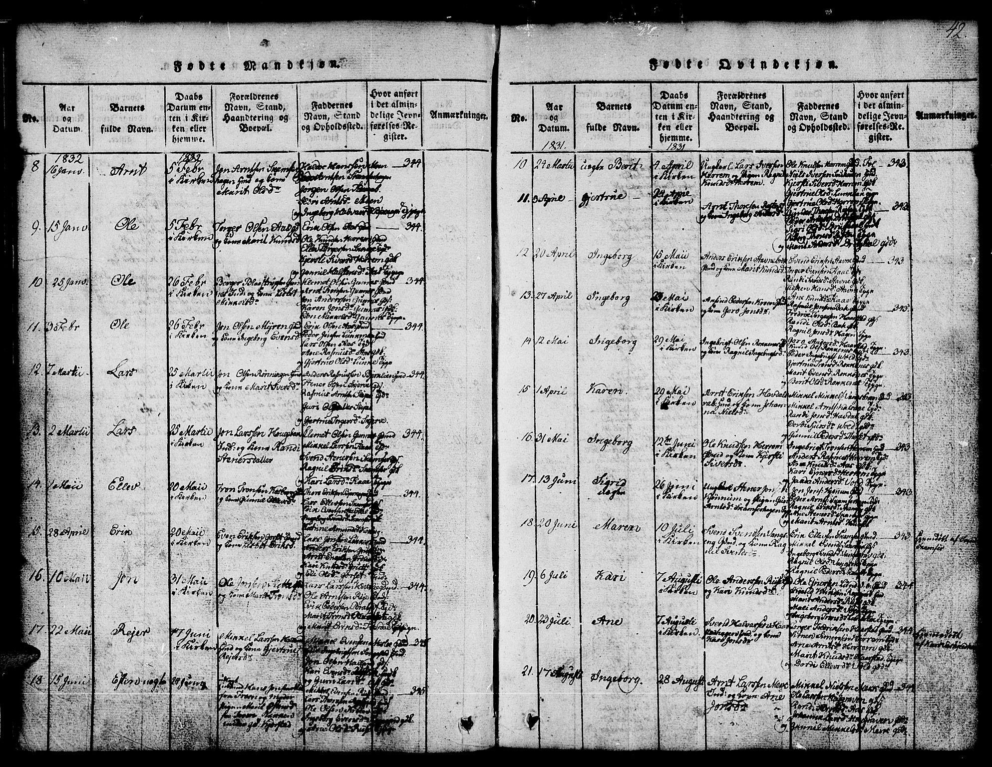 SAT, Ministerialprotokoller, klokkerbøker og fødselsregistre - Sør-Trøndelag, 674/L0874: Klokkerbok nr. 674C01, 1816-1860, s. 42