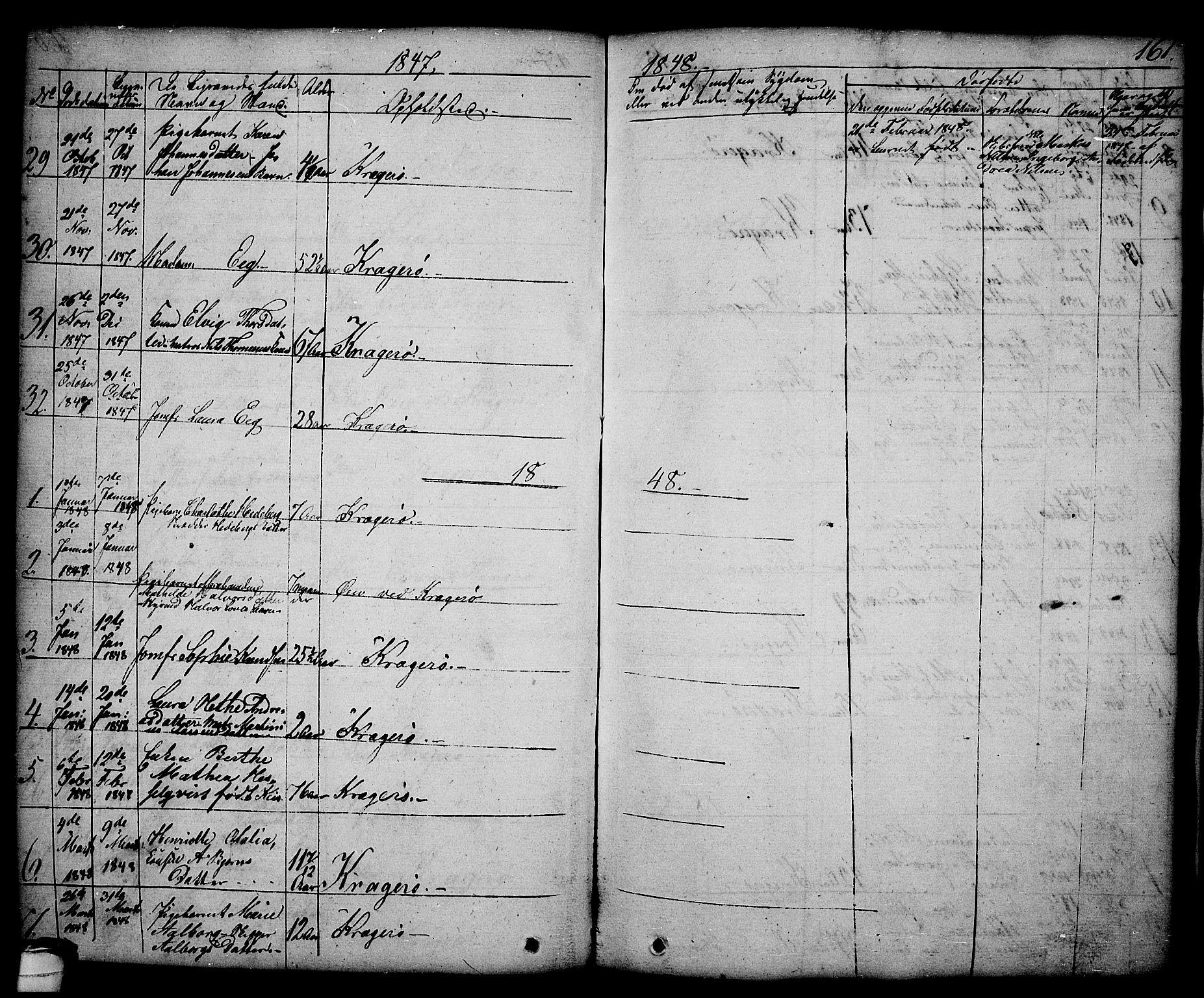SAKO, Kragerø kirkebøker, G/Ga/L0003: Klokkerbok nr. 3, 1832-1852, s. 161