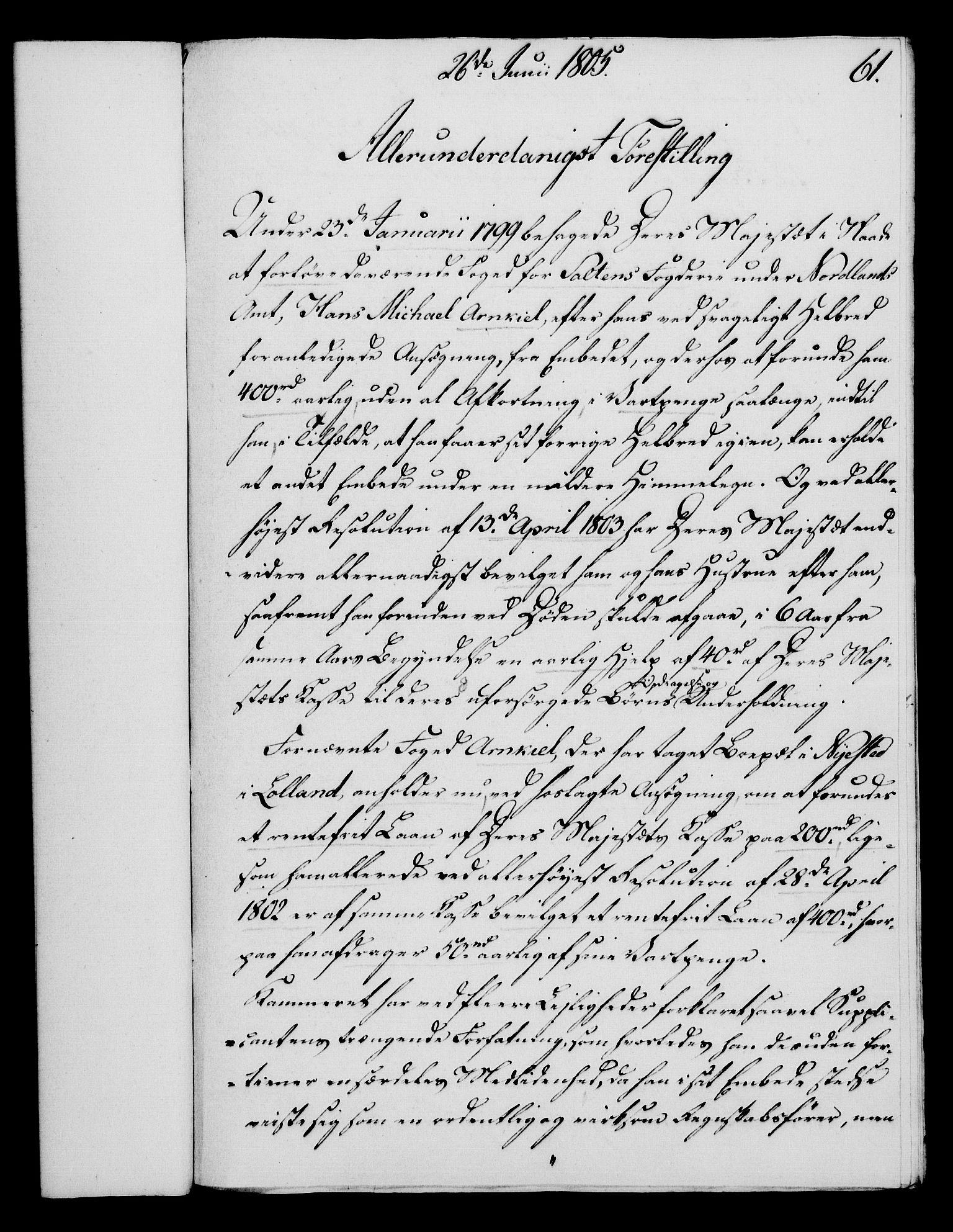 RA, Rentekammeret, Kammerkanselliet, G/Gf/Gfa/L0087: Norsk relasjons- og resolusjonsprotokoll (merket RK 52.87), 1805, s. 346