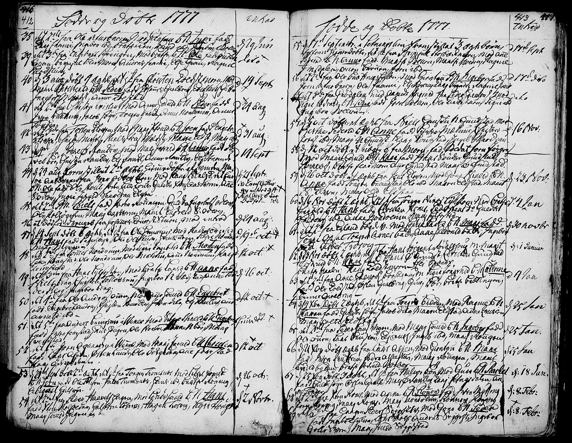 SAH, Ringebu prestekontor, Ministerialbok nr. 2, 1734-1780, s. 412-413