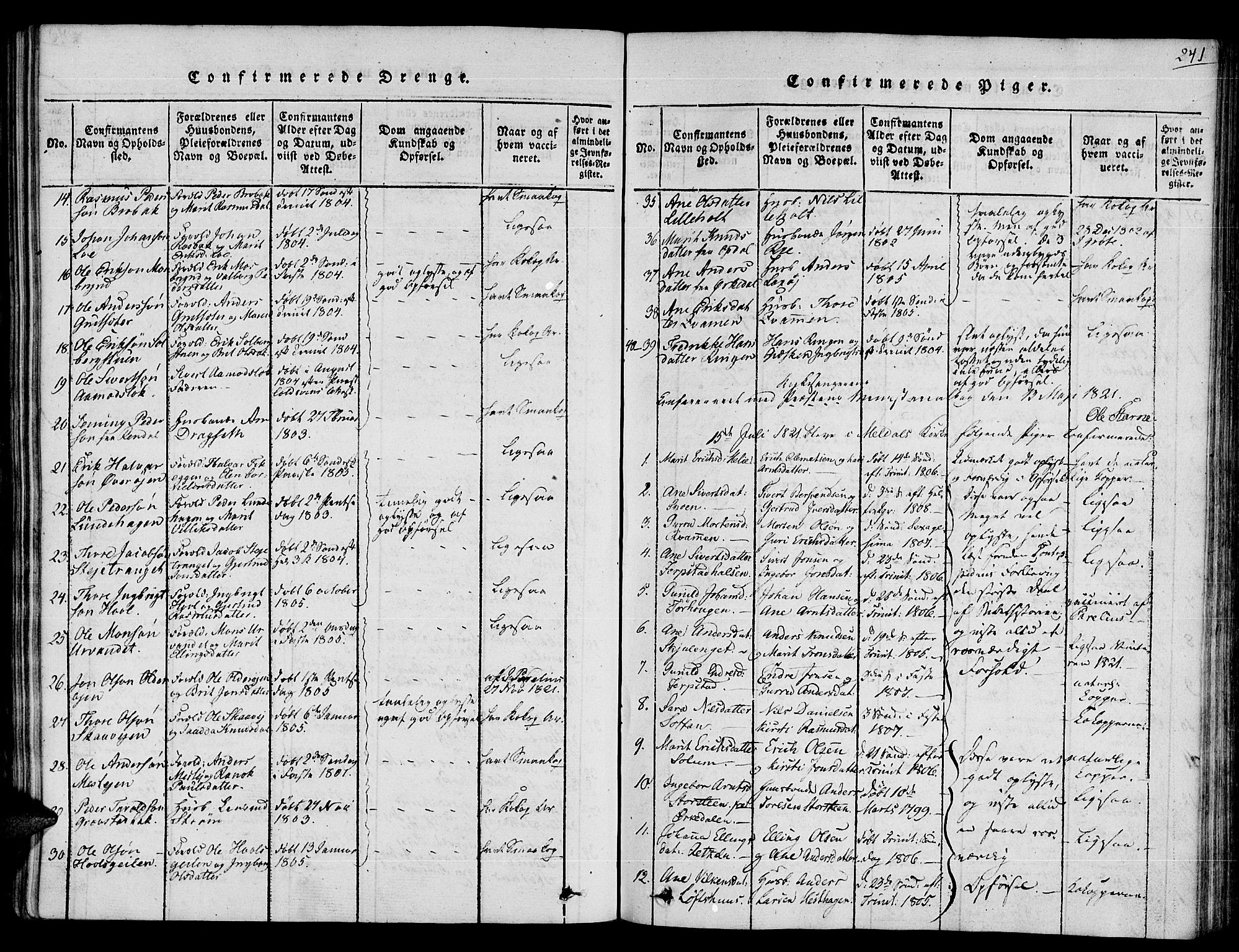 SAT, Ministerialprotokoller, klokkerbøker og fødselsregistre - Sør-Trøndelag, 672/L0853: Ministerialbok nr. 672A06 /1, 1816-1829, s. 241