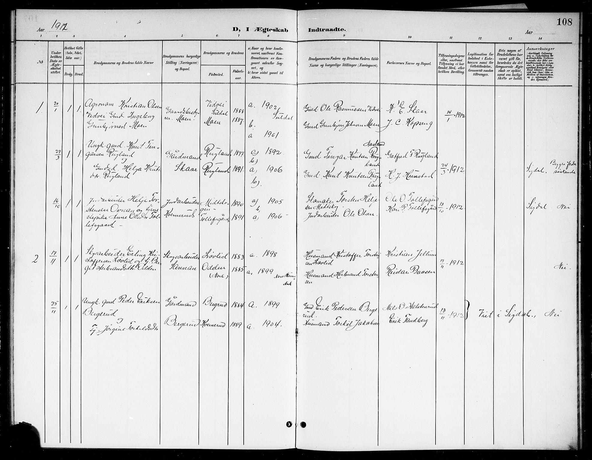 SAKO, Sigdal kirkebøker, G/Gb/L0003: Klokkerbok nr. II 3, 1901-1916, s. 108