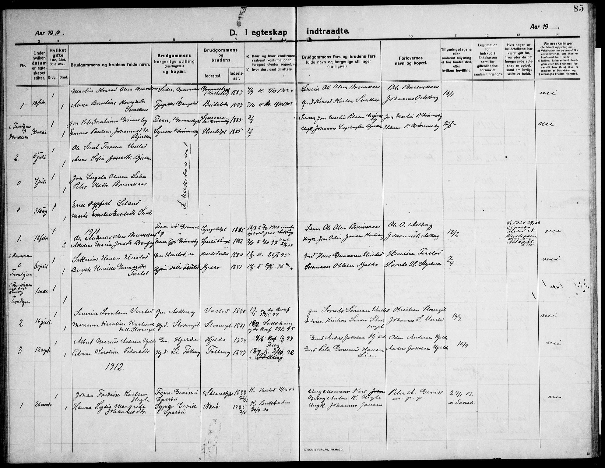 SAT, Ministerialprotokoller, klokkerbøker og fødselsregistre - Nord-Trøndelag, 732/L0319: Klokkerbok nr. 732C03, 1911-1945, s. 85
