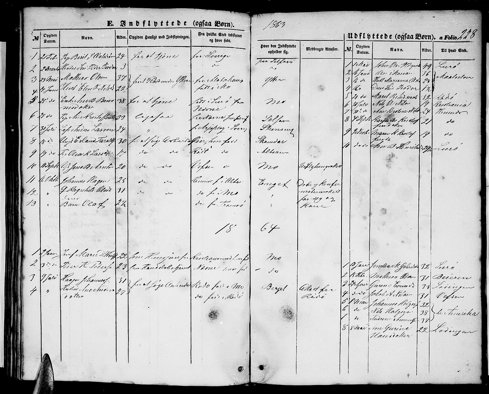 SAT, Ministerialprotokoller, klokkerbøker og fødselsregistre - Nordland, 827/L0414: Klokkerbok nr. 827C03, 1853-1865, s. 228