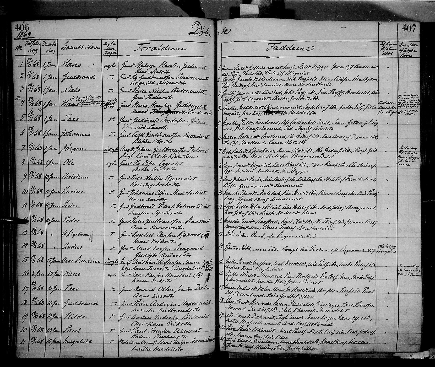 SAH, Gran prestekontor, Ministerialbok nr. 12, 1856-1874, s. 406-407