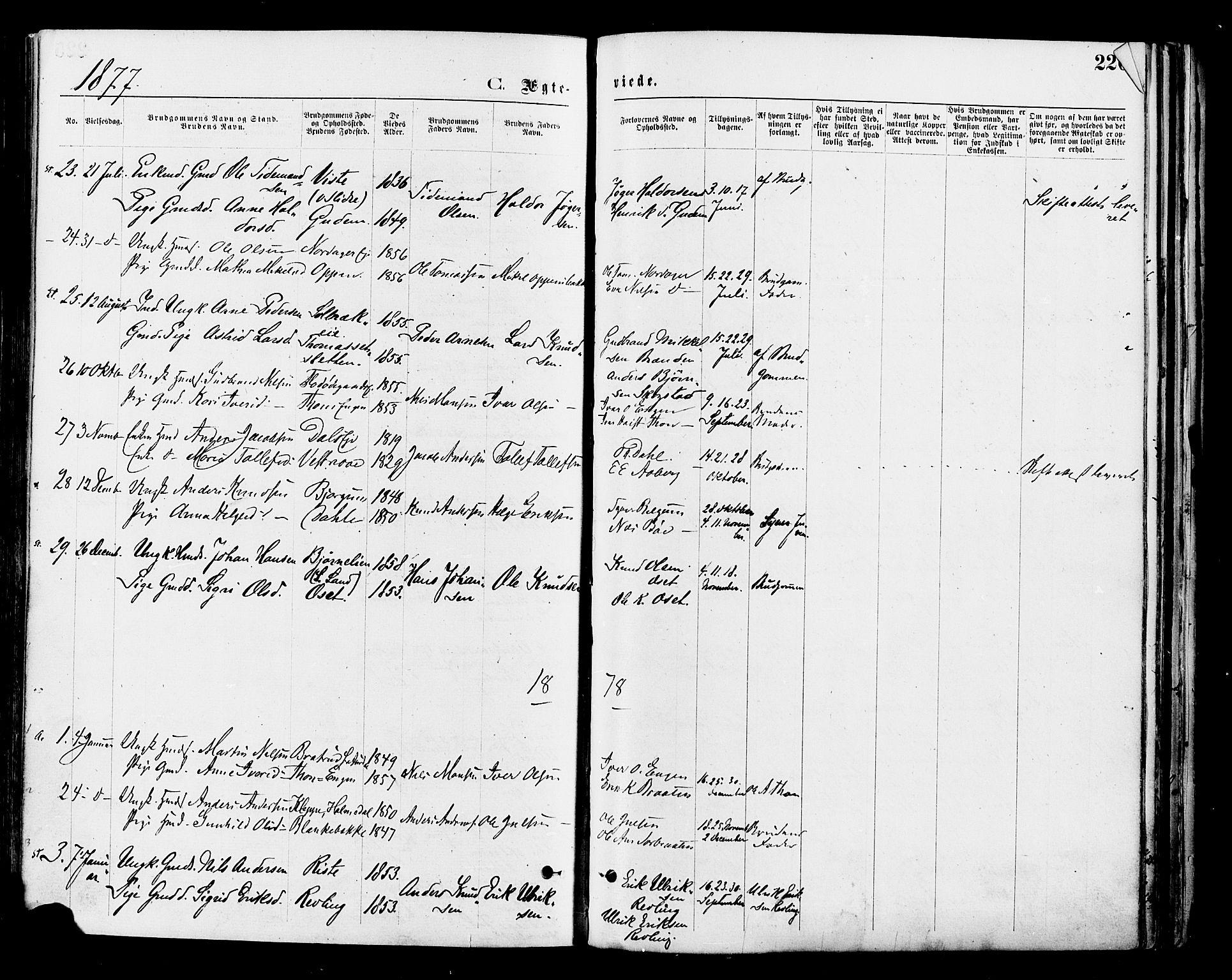 SAH, Nord-Aurdal prestekontor, Ministerialbok nr. 9, 1876-1882, s. 226