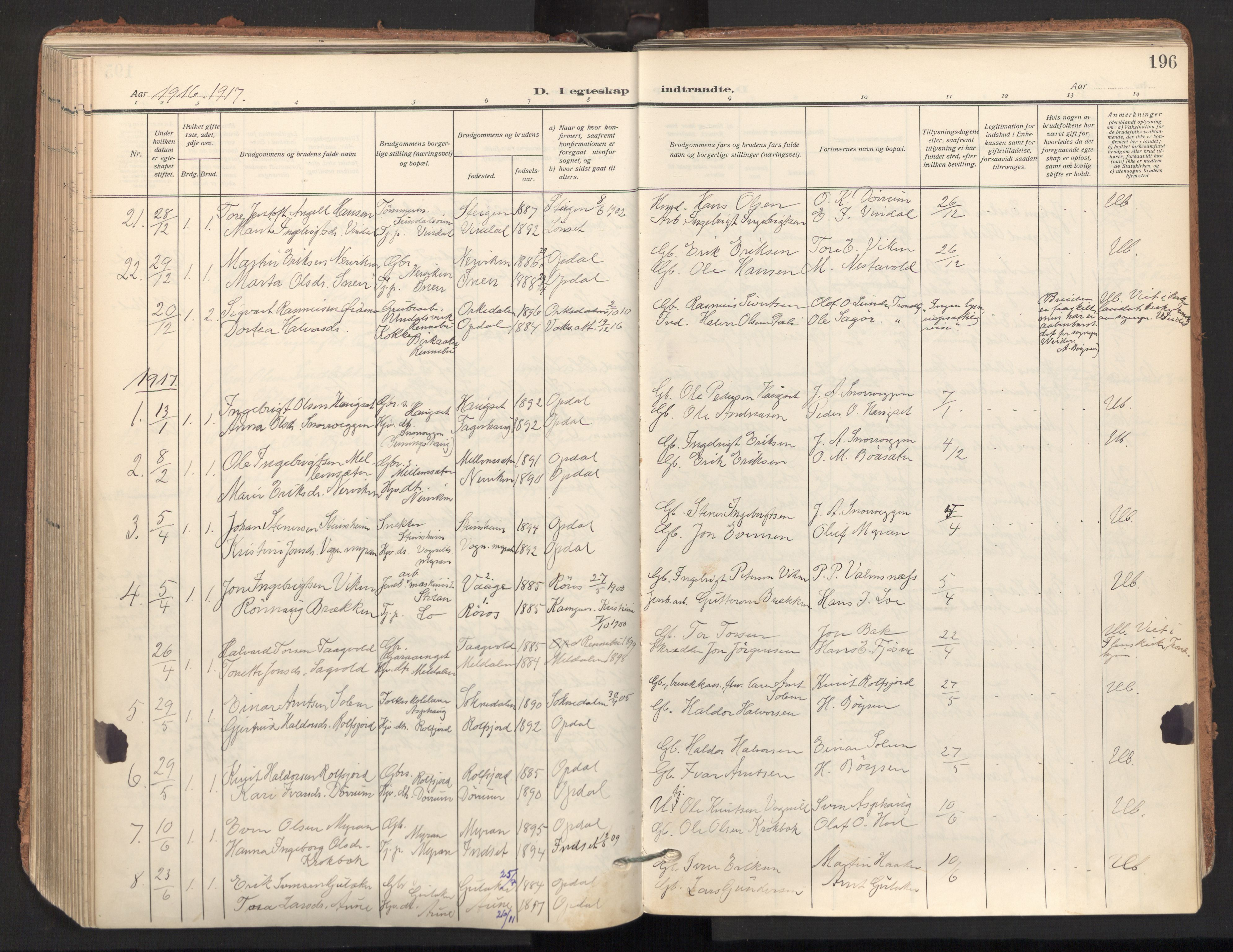 SAT, Ministerialprotokoller, klokkerbøker og fødselsregistre - Sør-Trøndelag, 678/L0909: Ministerialbok nr. 678A17, 1912-1930, s. 196