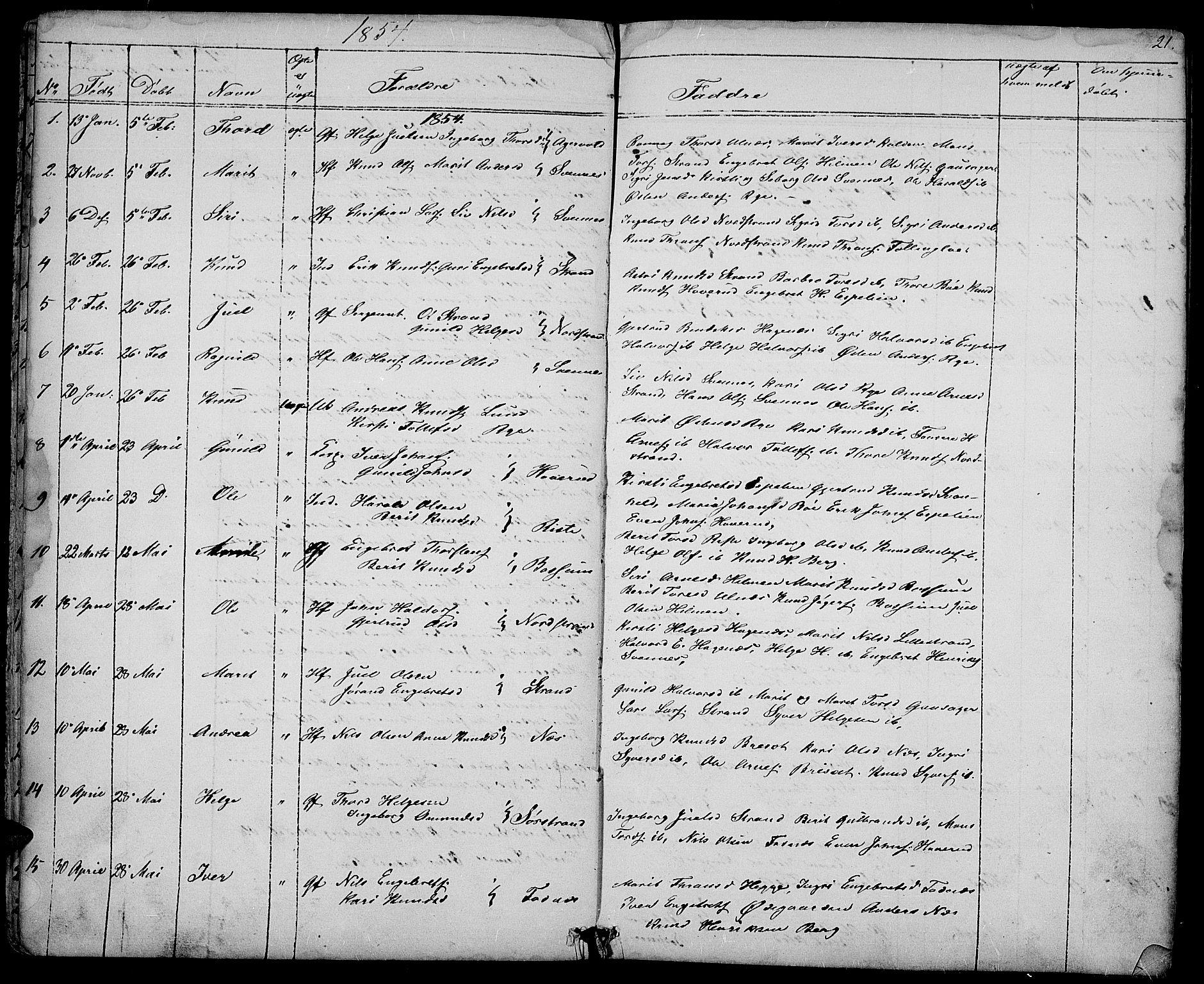 SAH, Nord-Aurdal prestekontor, Klokkerbok nr. 3, 1842-1882, s. 21