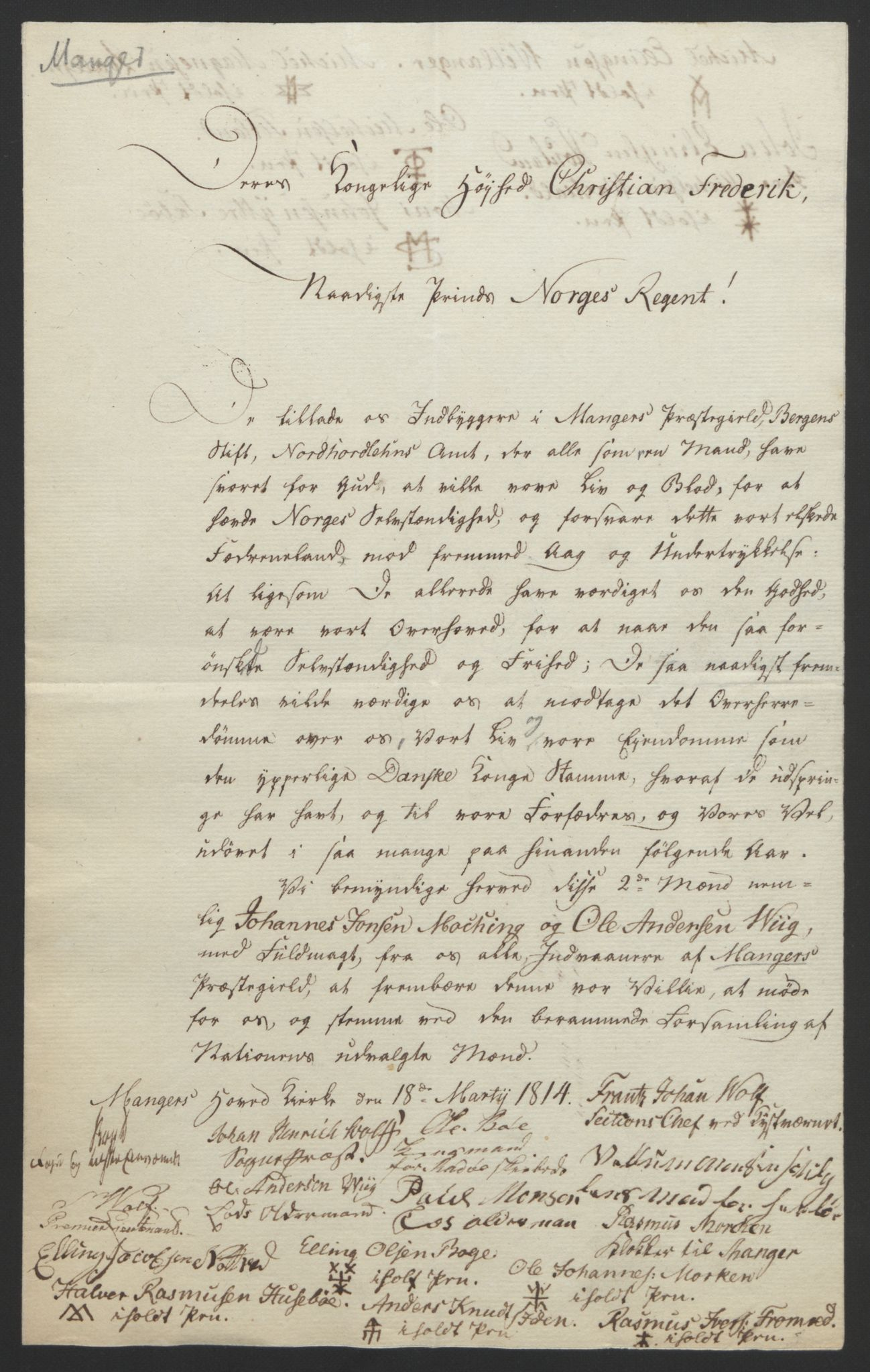 RA, Statsrådssekretariatet, D/Db/L0008: Fullmakter for Eidsvollsrepresentantene i 1814. , 1814, s. 291