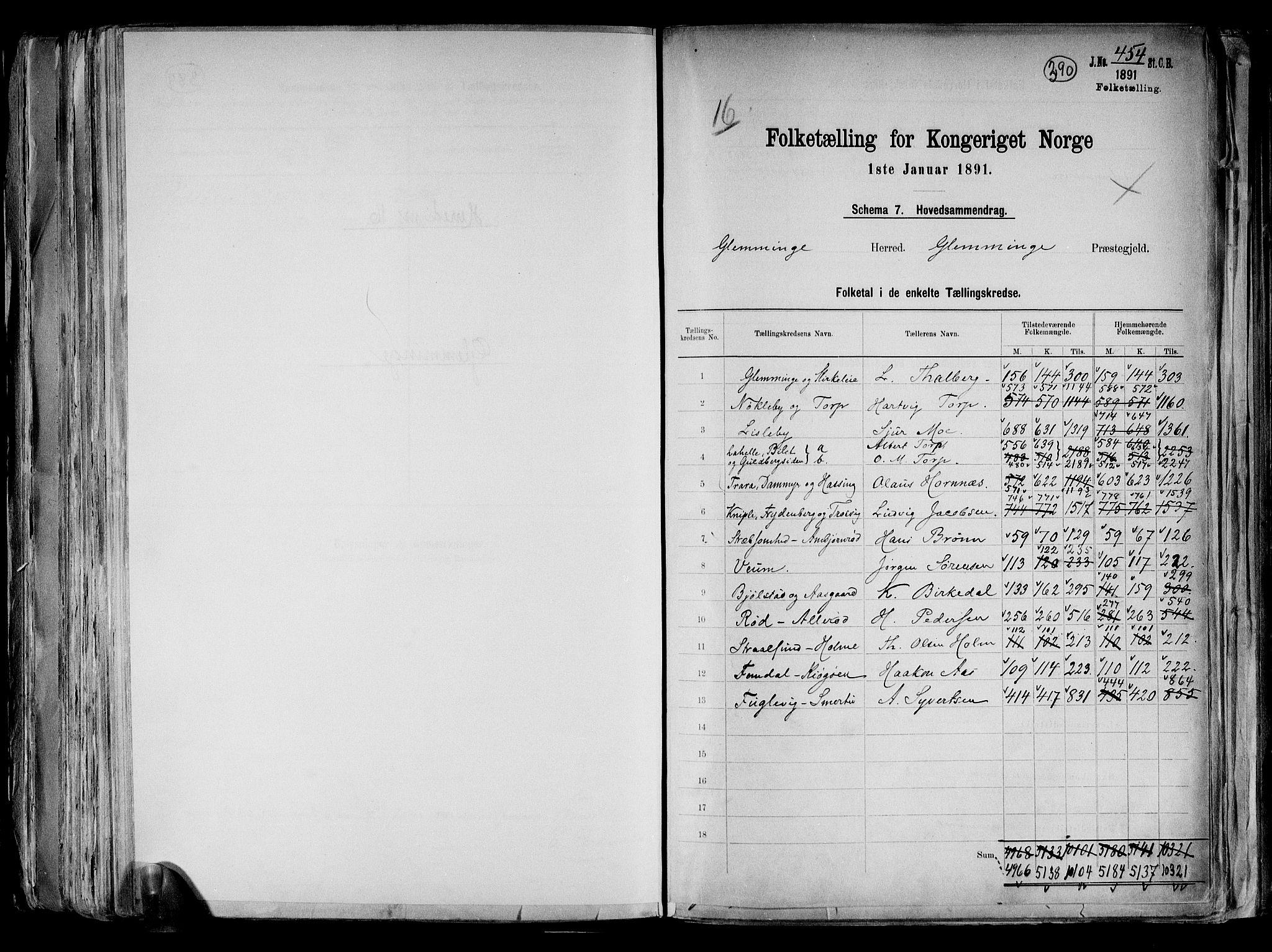 RA, Folketelling 1891 for 0132 Glemmen herred, 1891, s. 2