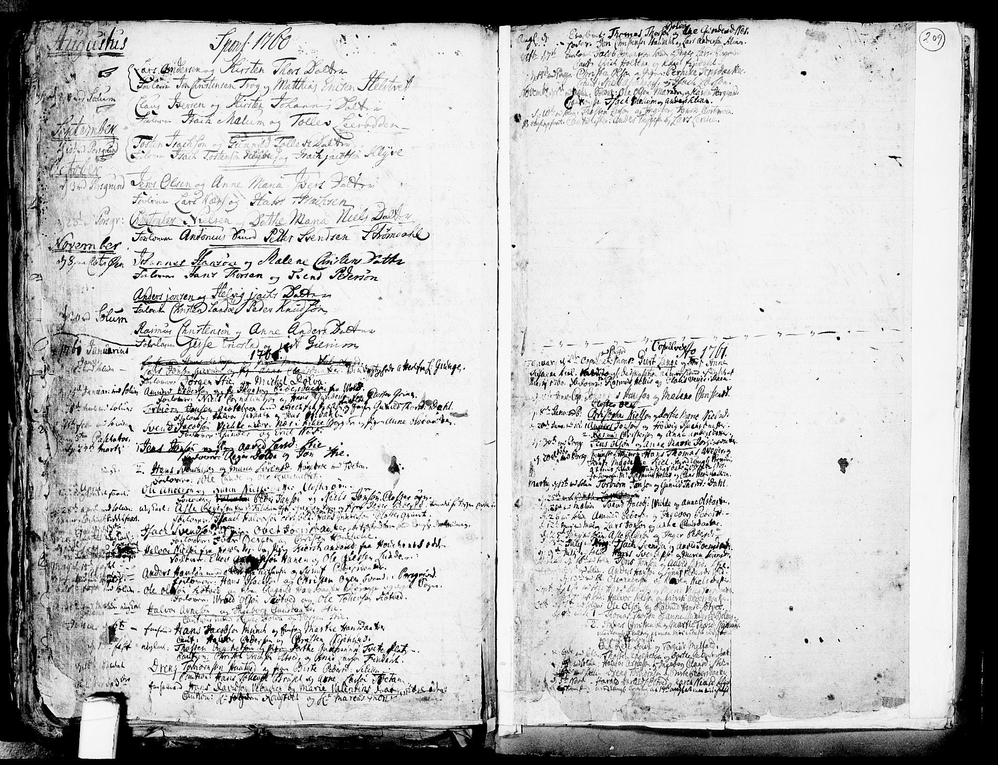 SAKO, Solum kirkebøker, F/Fa/L0002: Ministerialbok nr. I 2, 1713-1761, s. 209