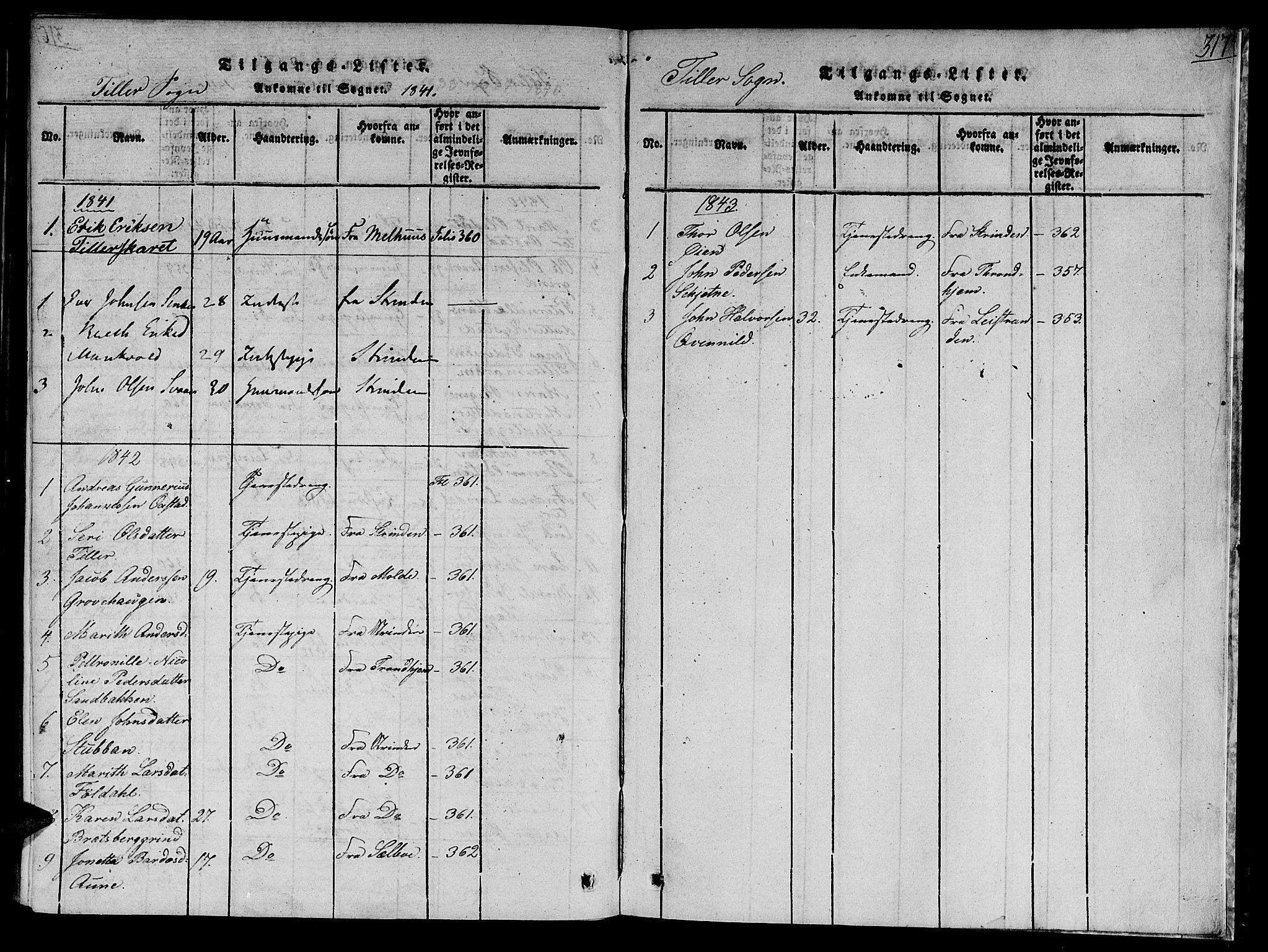SAT, Ministerialprotokoller, klokkerbøker og fødselsregistre - Sør-Trøndelag, 618/L0440: Ministerialbok nr. 618A04 /2, 1816-1843, s. 317