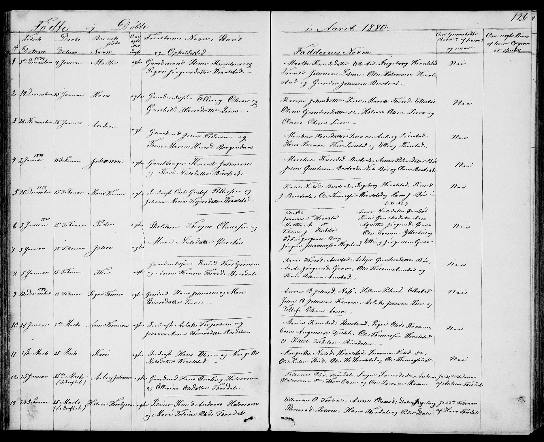 SAKO, Drangedal kirkebøker, G/Gb/L0001: Klokkerbok nr. II 1, 1856-1894, s. 126