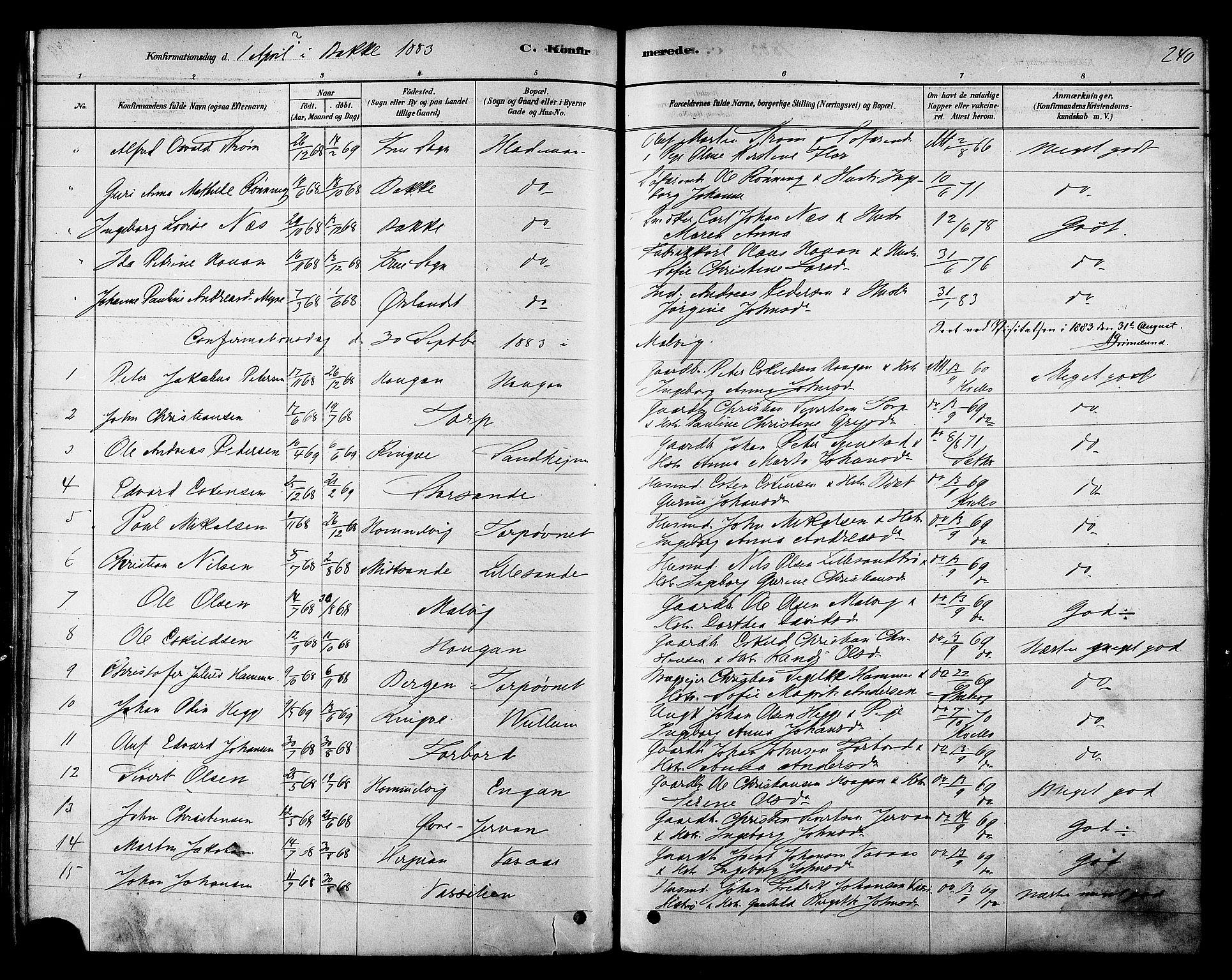 SAT, Ministerialprotokoller, klokkerbøker og fødselsregistre - Sør-Trøndelag, 606/L0294: Ministerialbok nr. 606A09, 1878-1886, s. 240