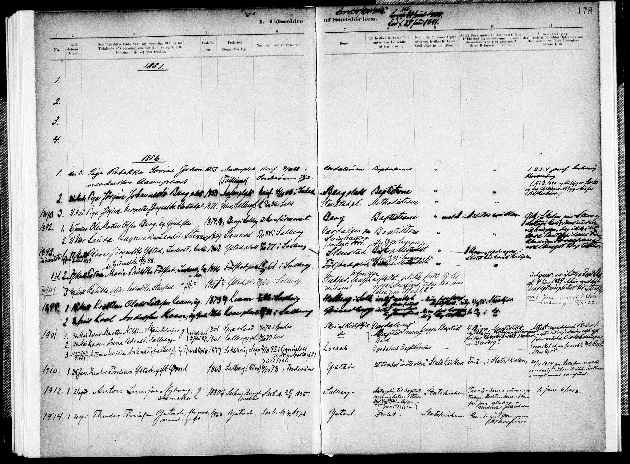 SAT, Ministerialprotokoller, klokkerbøker og fødselsregistre - Nord-Trøndelag, 731/L0309: Ministerialbok nr. 731A01, 1879-1918, s. 178