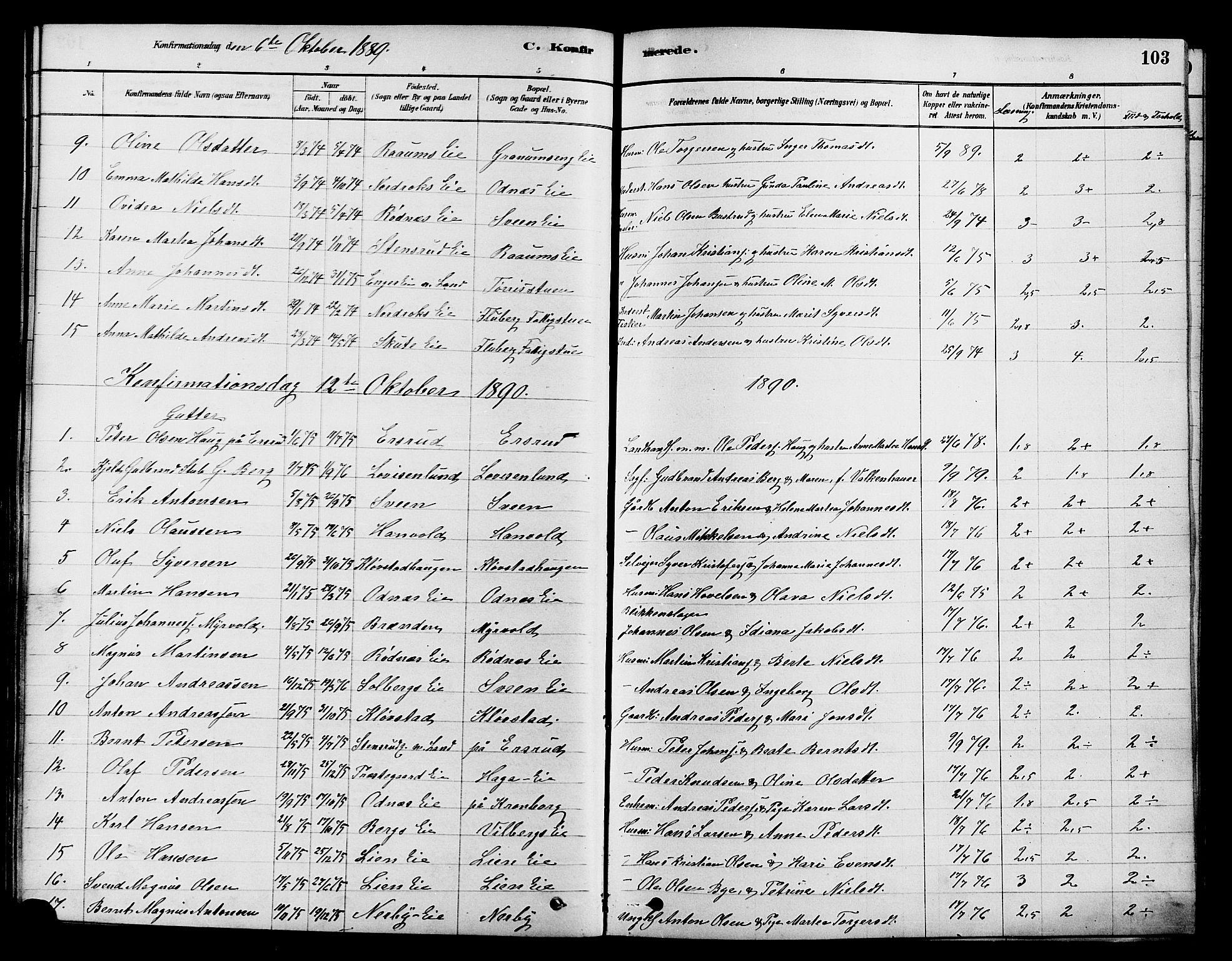 SAH, Søndre Land prestekontor, K/L0002: Ministerialbok nr. 2, 1878-1894, s. 103