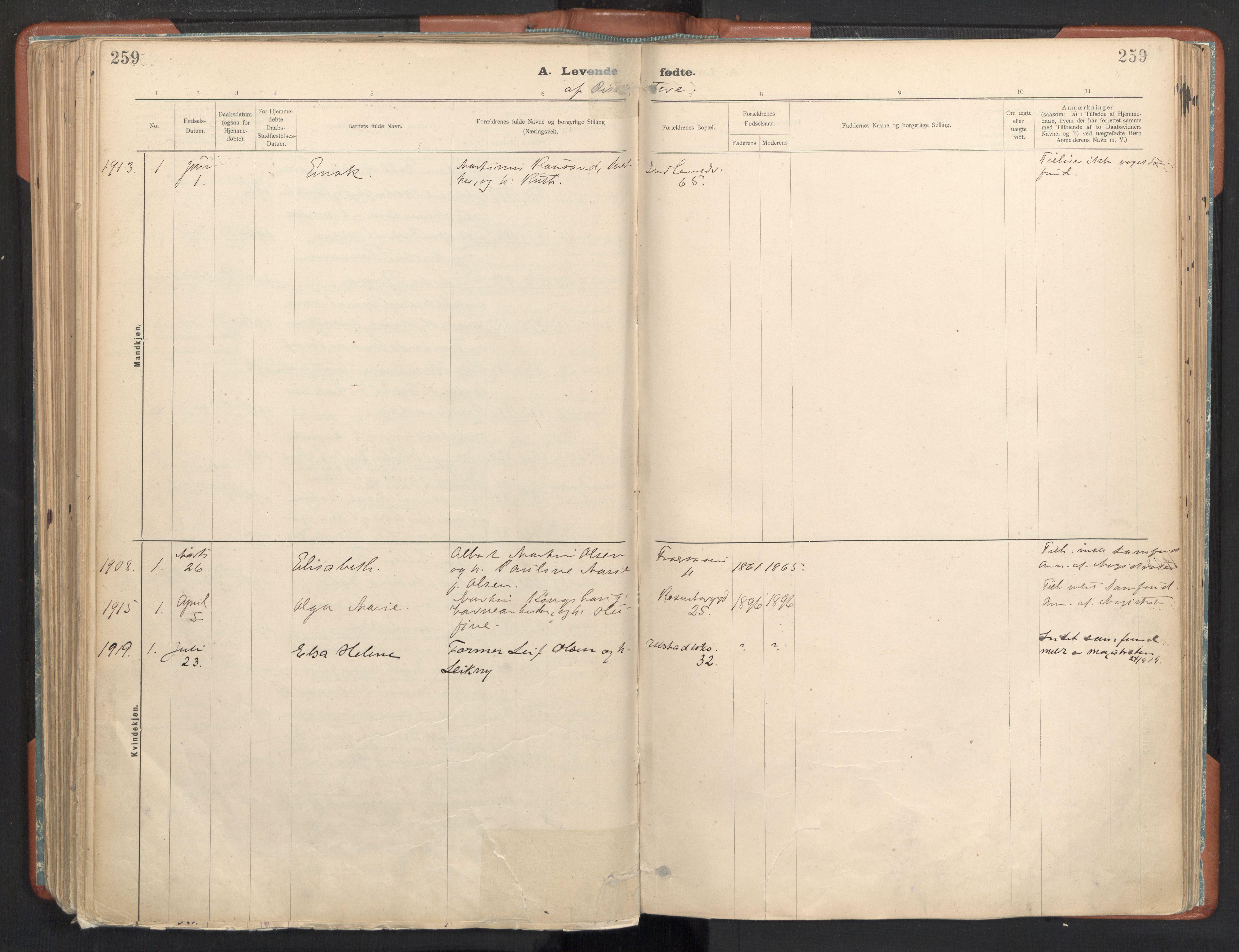 SAT, Ministerialprotokoller, klokkerbøker og fødselsregistre - Sør-Trøndelag, 605/L0243: Ministerialbok nr. 605A05, 1908-1923, s. 259