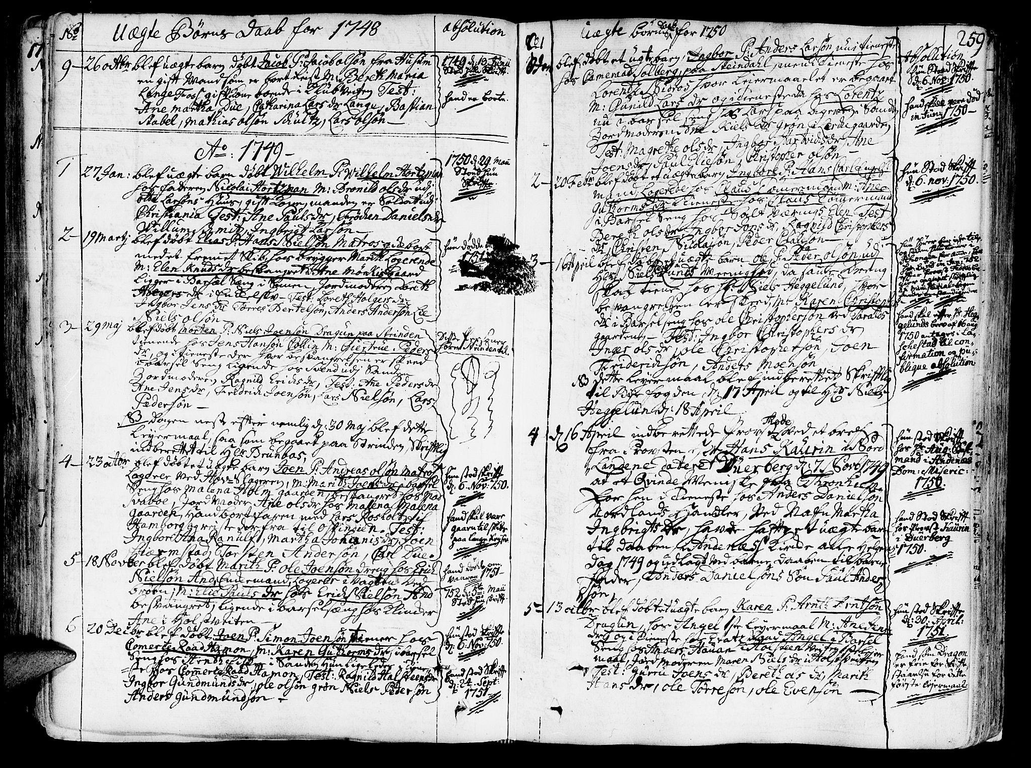 SAT, Ministerialprotokoller, klokkerbøker og fødselsregistre - Sør-Trøndelag, 602/L0103: Ministerialbok nr. 602A01, 1732-1774, s. 259