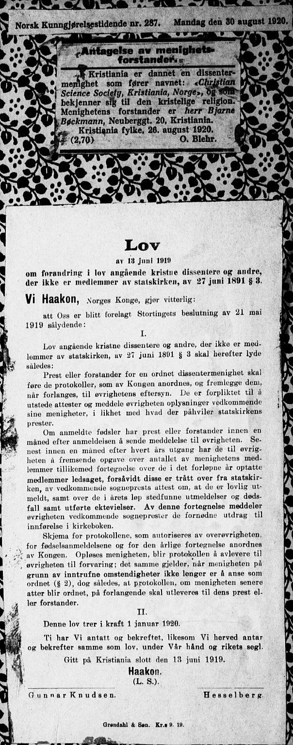 SAO, Christian Science Society Oslo , A/L0001: Dissenterprotokoll nr. 1, 1908-1923