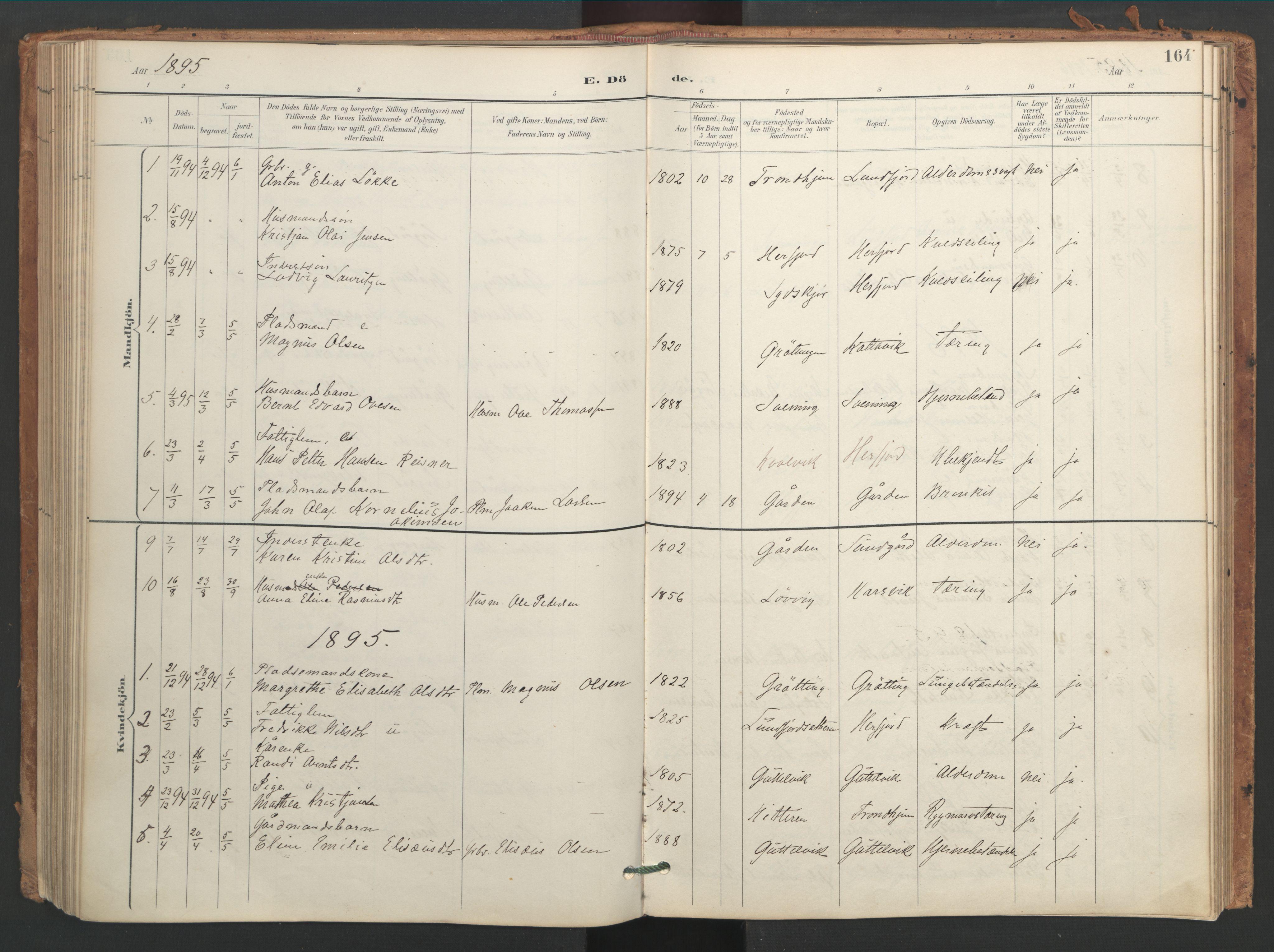 SAT, Ministerialprotokoller, klokkerbøker og fødselsregistre - Sør-Trøndelag, 656/L0693: Ministerialbok nr. 656A02, 1894-1913, s. 164