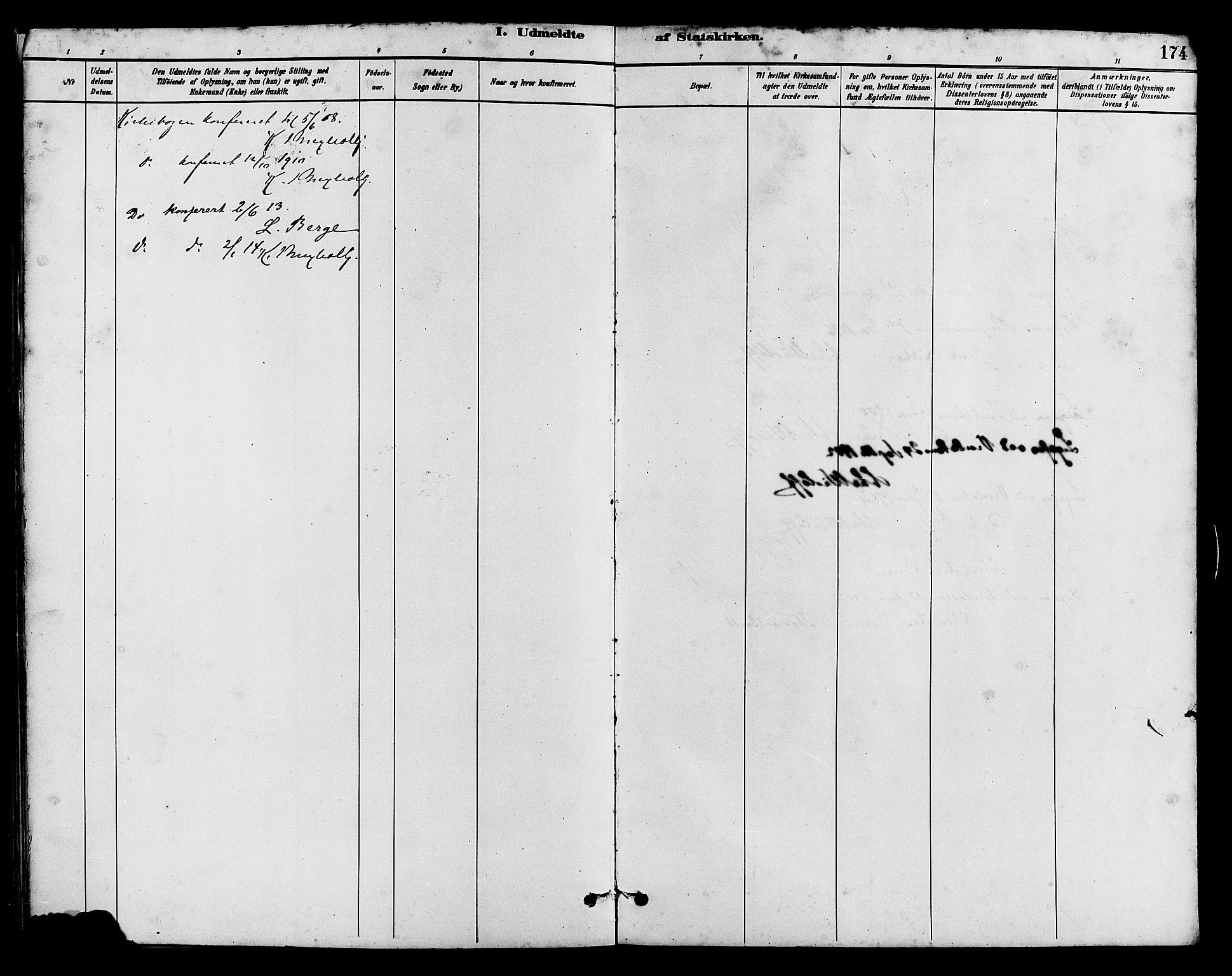 SAH, Vestre Slidre prestekontor, Klokkerbok nr. 5, 1881-1913, s. 174