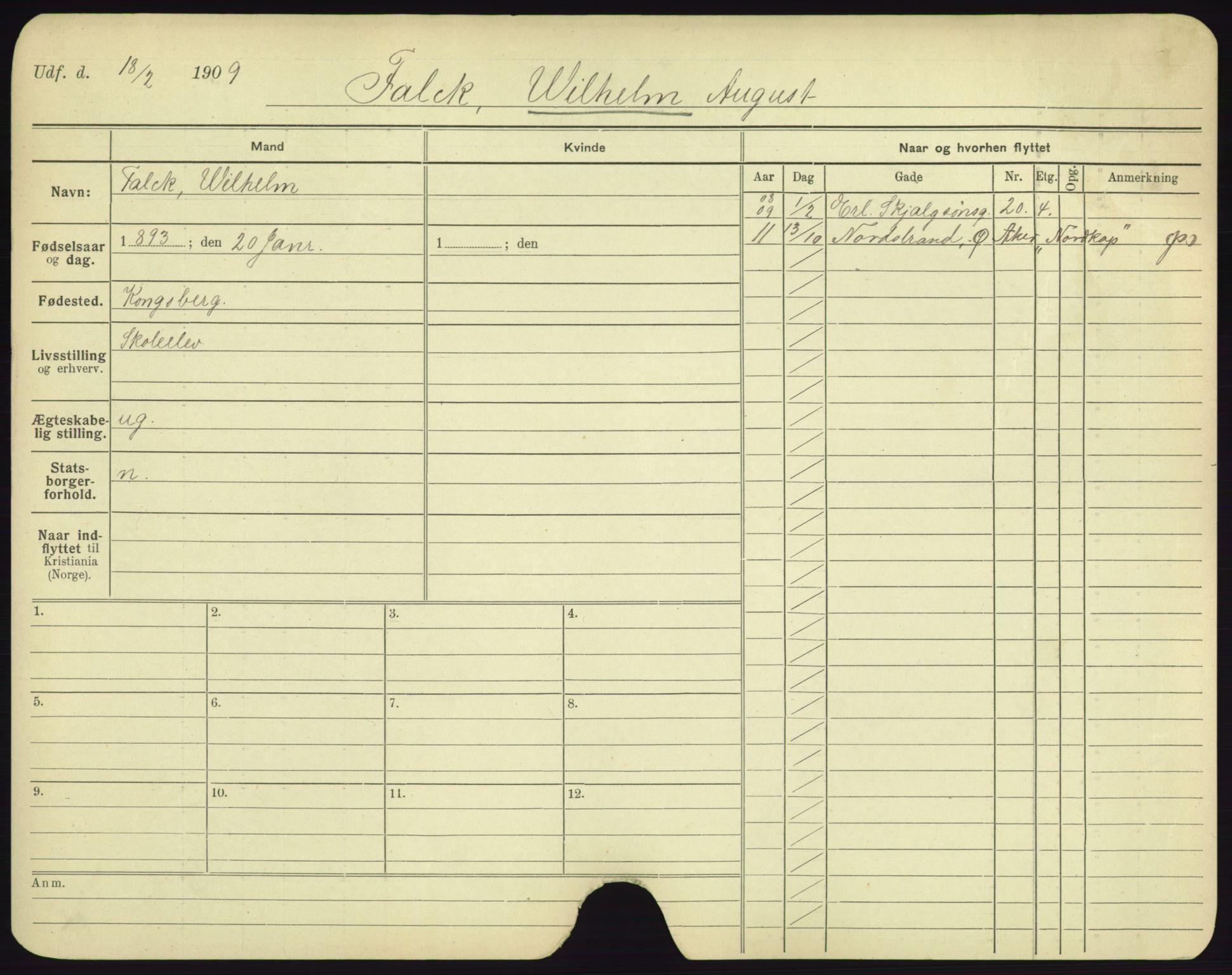 SAO, Oslo folkeregister, Registerkort, F/Fa/Fac/L0003: Menn, 1906-1914, s. 26a
