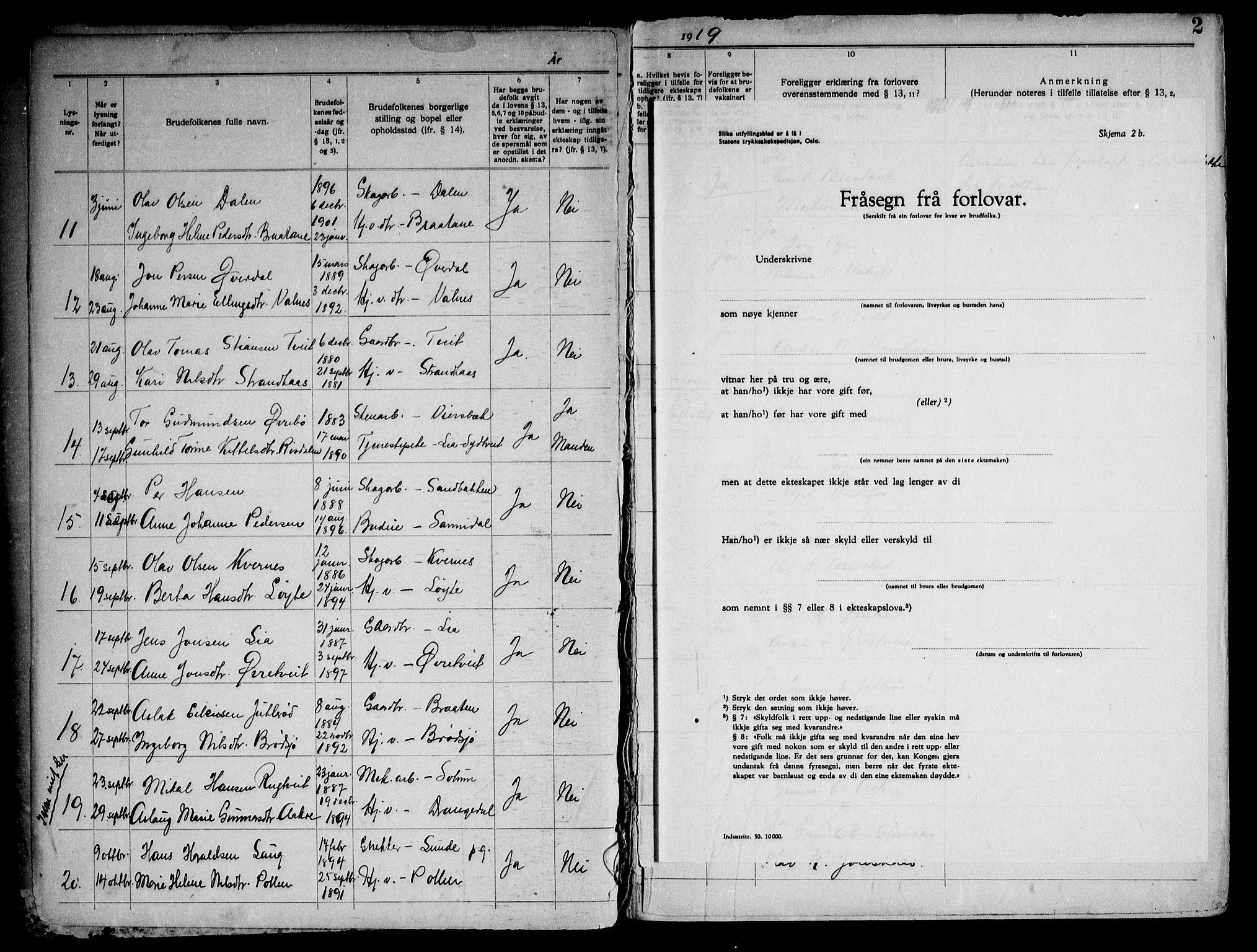 SAKO, Drangedal kirkebøker, H/Ha/L0001: Lysningsprotokoll nr. 1, 1919-1952, s. 2