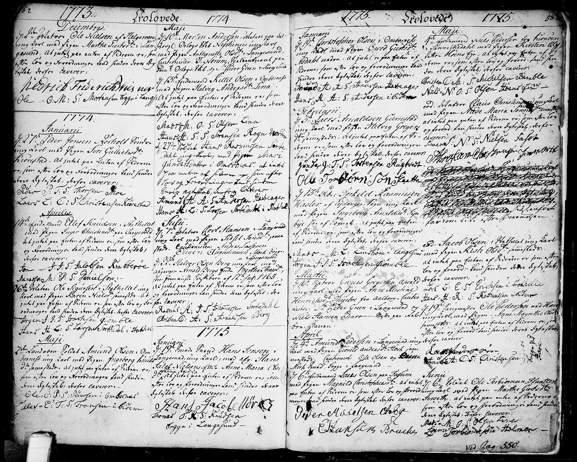 SAKO, Bamble kirkebøker, F/Fa/L0001: Ministerialbok nr. I 1, 1702-1774, s. 562-563