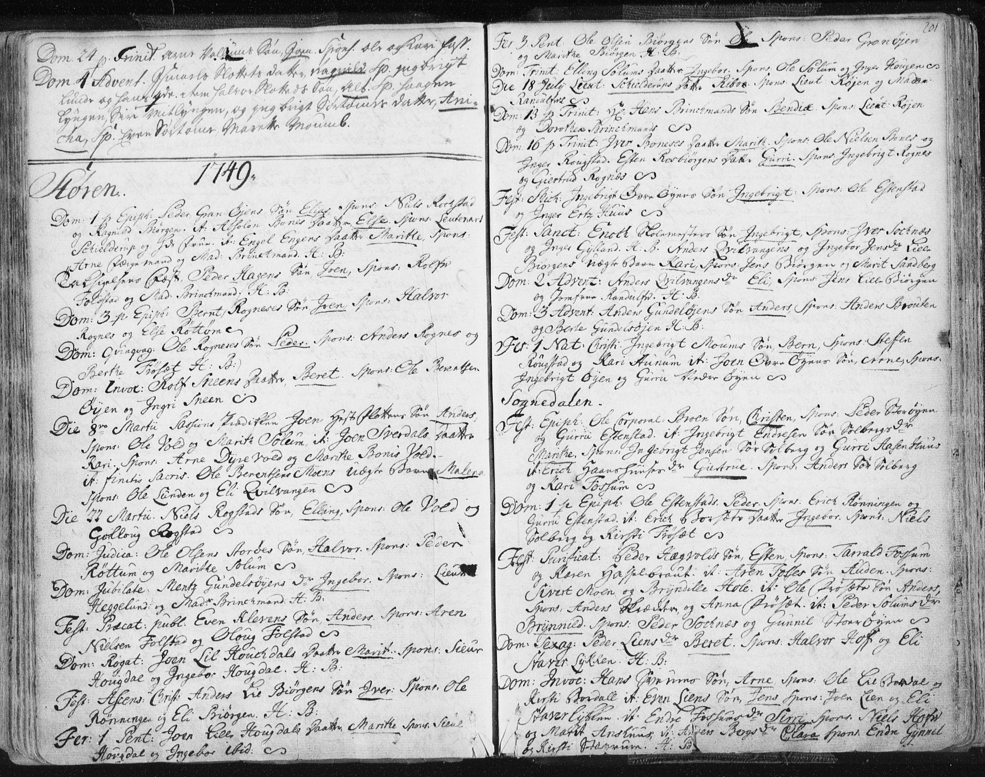 SAT, Ministerialprotokoller, klokkerbøker og fødselsregistre - Sør-Trøndelag, 687/L0991: Ministerialbok nr. 687A02, 1747-1790, s. 201