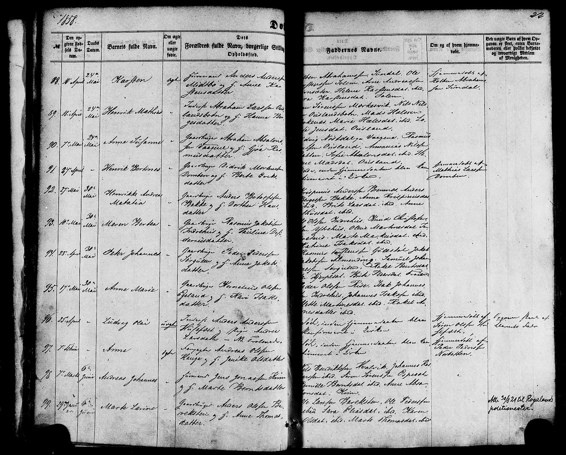 SAB, Kinn Sokneprestembete, Ministerialbok nr. A 6, 1857-1885, s. 22