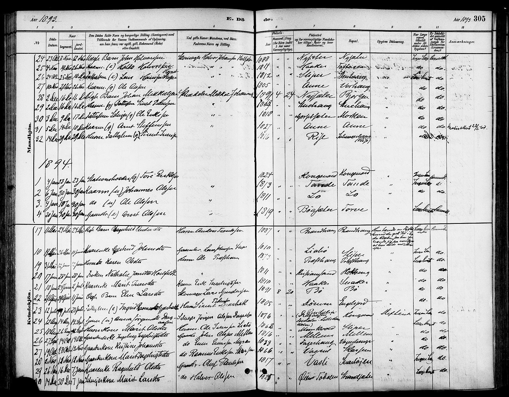 SAT, Ministerialprotokoller, klokkerbøker og fødselsregistre - Sør-Trøndelag, 678/L0901: Ministerialbok nr. 678A10, 1881-1894, s. 305