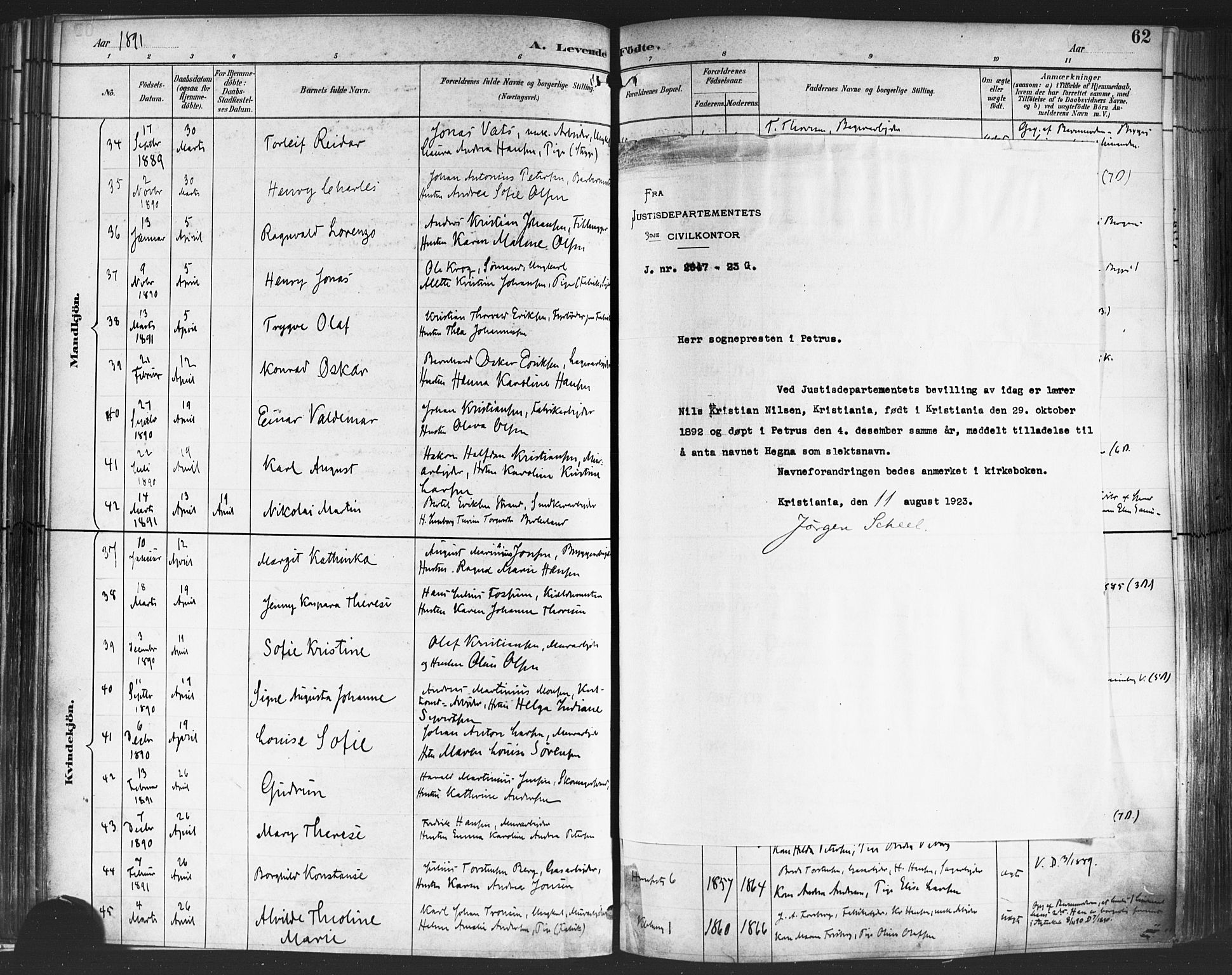 SAO, Petrus prestekontor Kirkebøker, F/Fa/L0004: Ministerialbok nr. 4, 1888-1898, s. 62