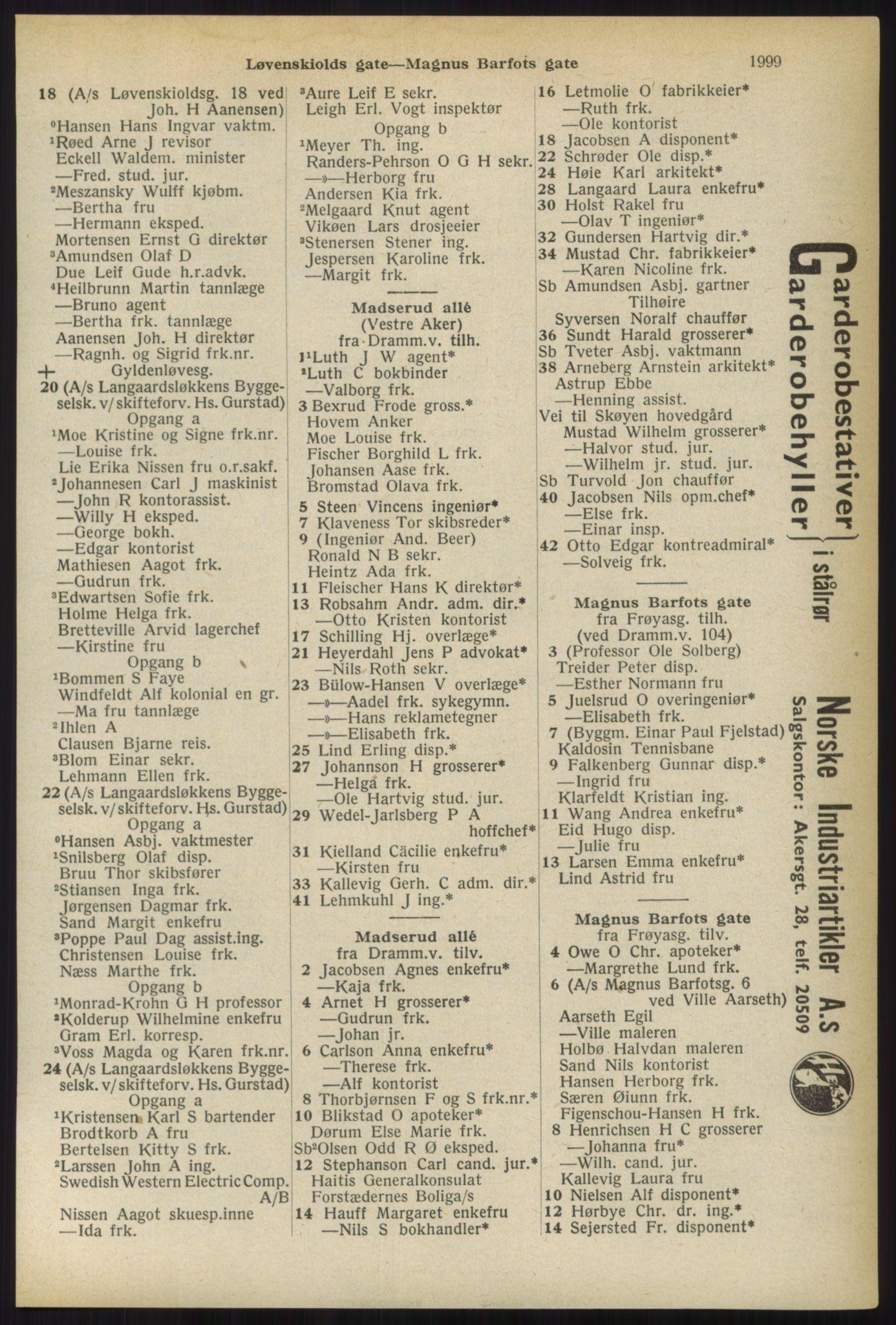 RA, Oslo adressebok (publikasjon)*, 1936, s. 1999