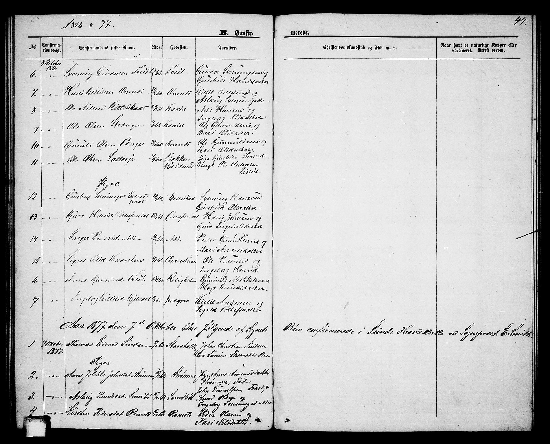 SAKO, Lunde kirkebøker, G/Gb/L0001: Klokkerbok nr. II 1, 1866-1887, s. 44