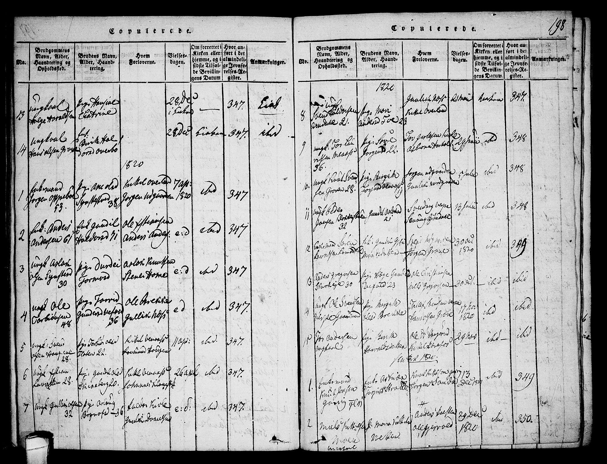 SAKO, Seljord kirkebøker, F/Fa/L0010: Ministerialbok nr. I 10, 1815-1831, s. 198