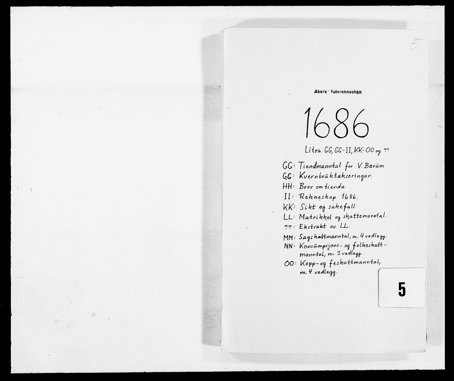 RA, Rentekammeret inntil 1814, Reviderte regnskaper, Fogderegnskap, R08/L0422: Fogderegnskap Aker, 1684-1686, s. 1