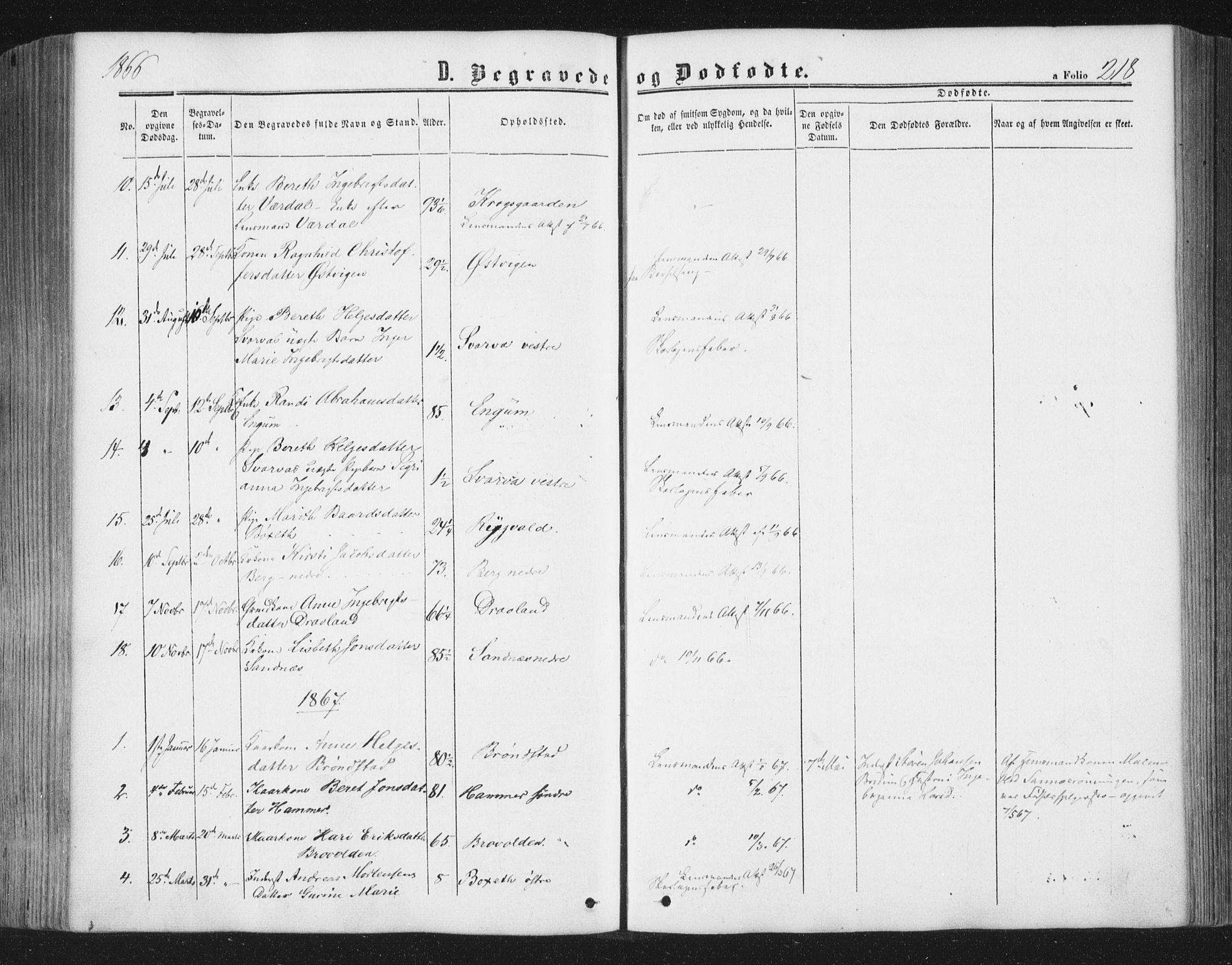SAT, Ministerialprotokoller, klokkerbøker og fødselsregistre - Nord-Trøndelag, 749/L0472: Ministerialbok nr. 749A06, 1857-1873, s. 218