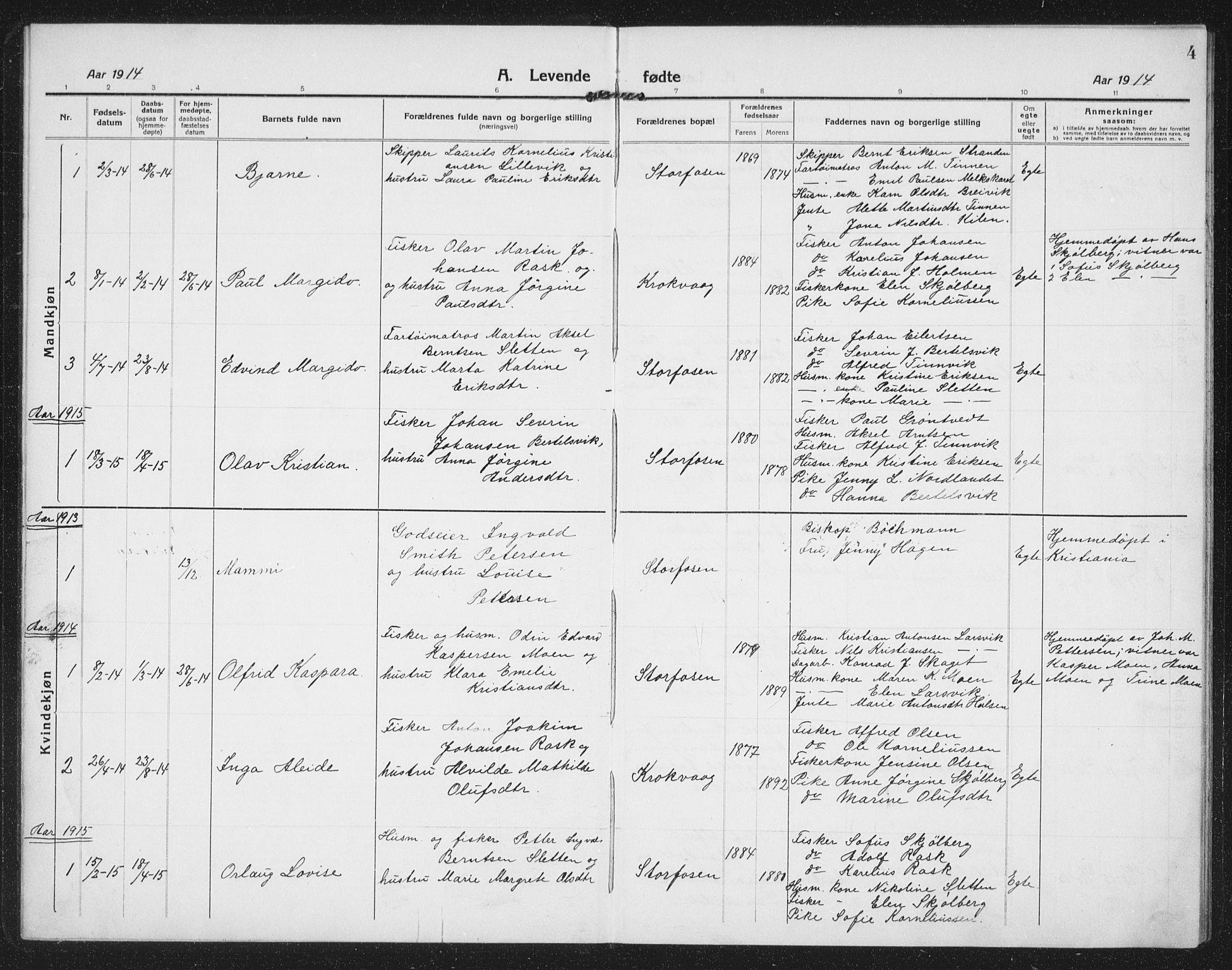 SAT, Ministerialprotokoller, klokkerbøker og fødselsregistre - Sør-Trøndelag, 659/L0750: Klokkerbok nr. 659C07, 1914-1940, s. 4